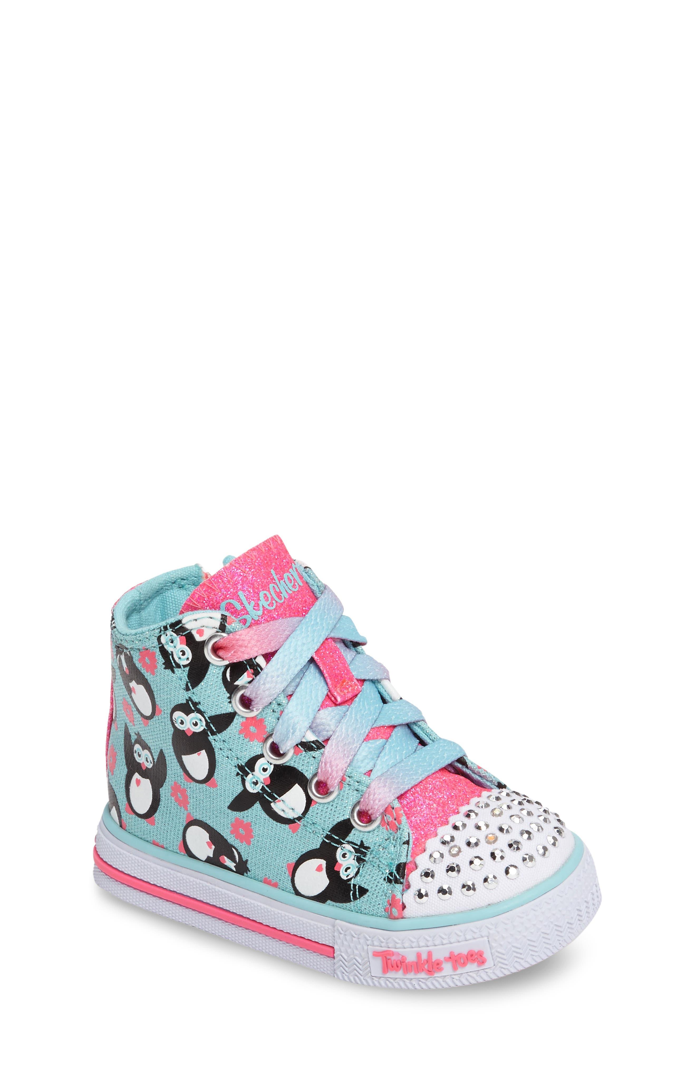 SKECHERS Twinkle Toes Shuffles Light-Up High Top Sneaker (Walker & Toddler)