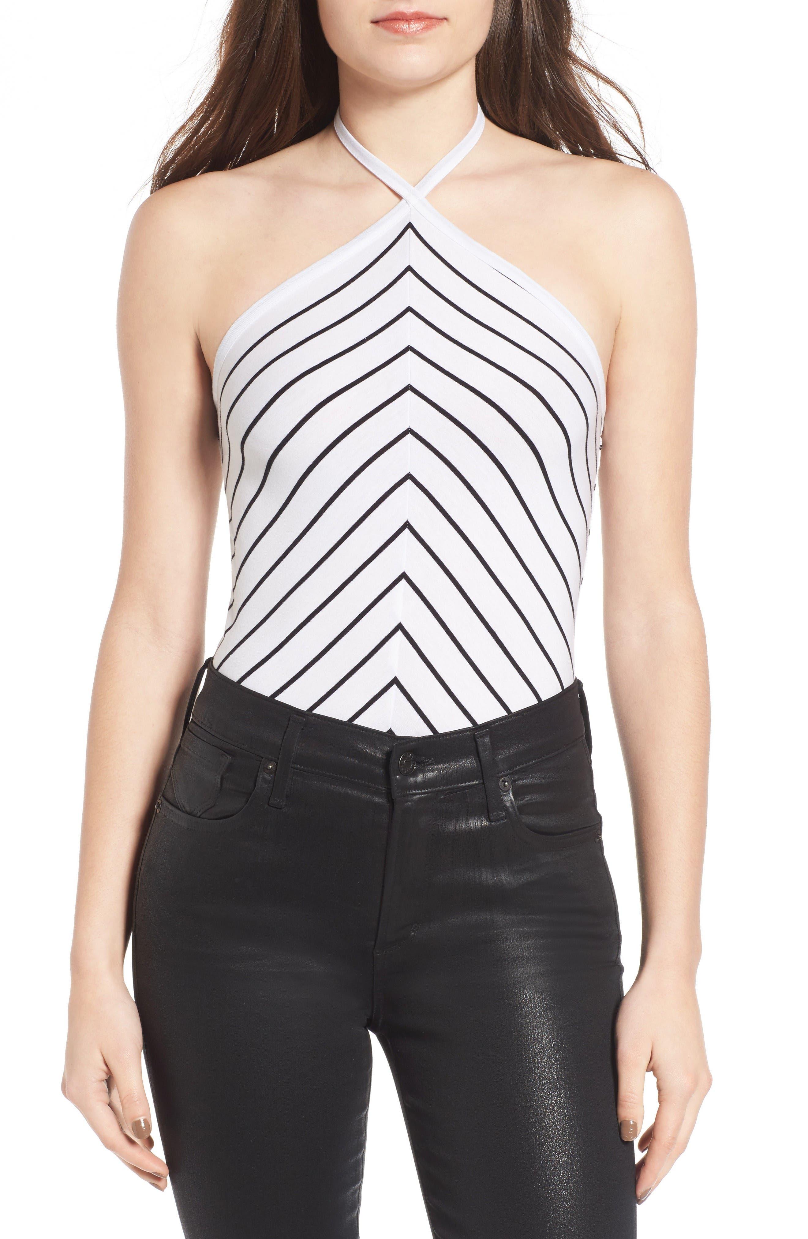 BP. Stripe Halter Bodysuit