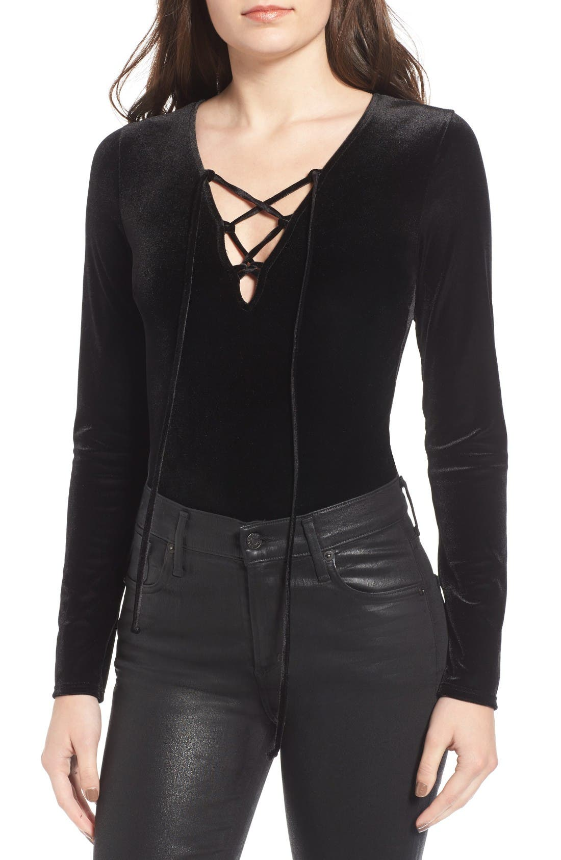 Main Image - Sun & Shadow Lace-Up Velvet Bodysuit