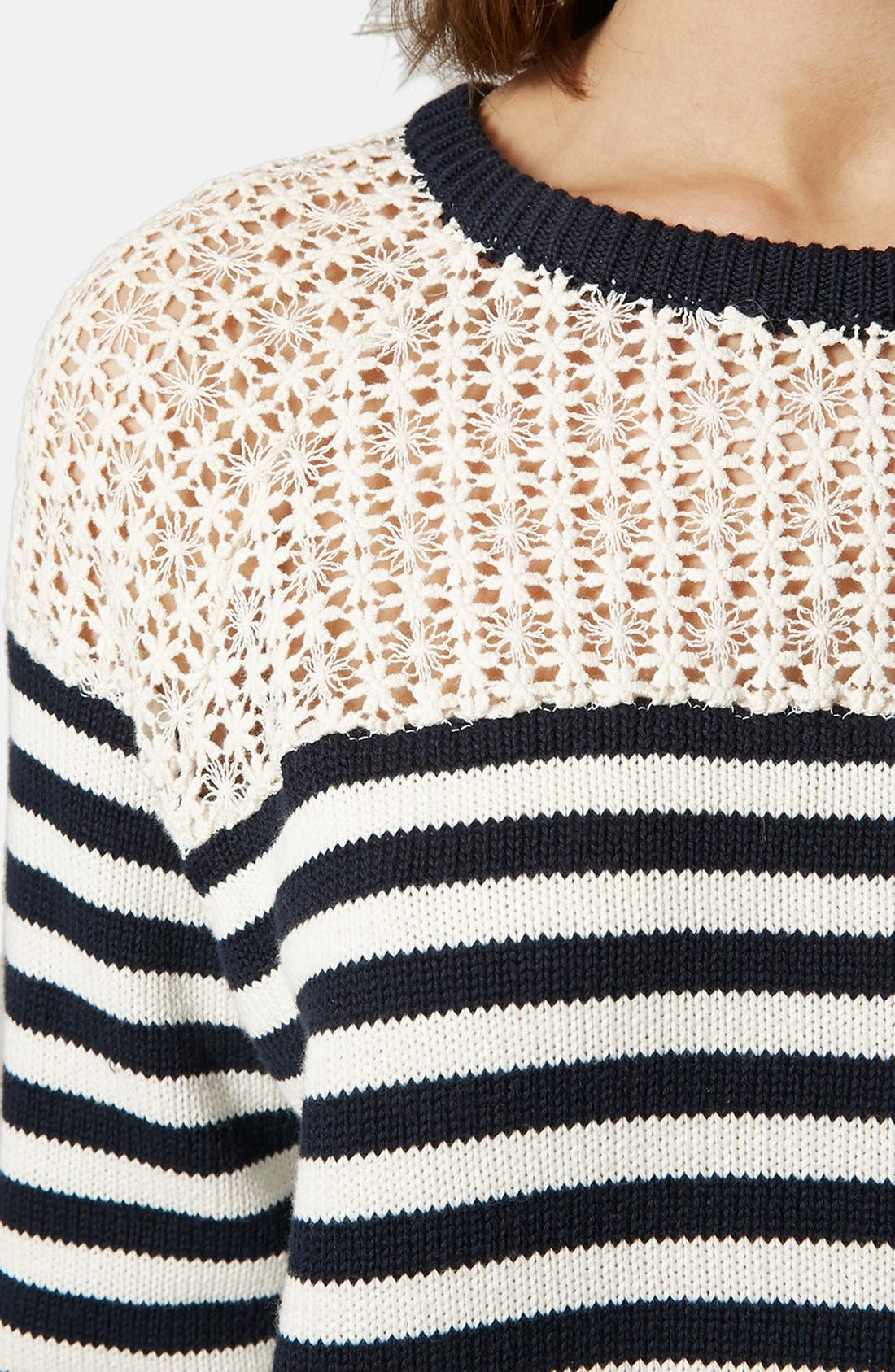 Alternate Image 4  - Topshop Lace Stripe Sweater