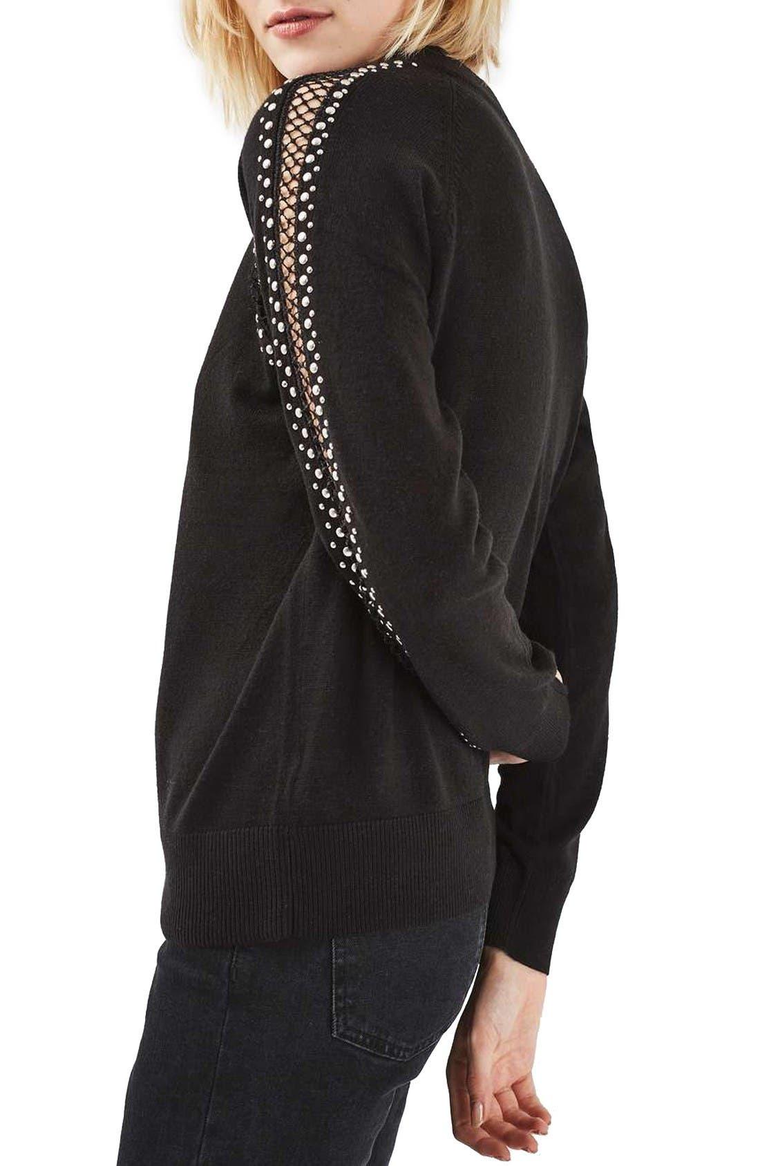 Alternate Image 2  - Topshop Stud Lattice Sweater