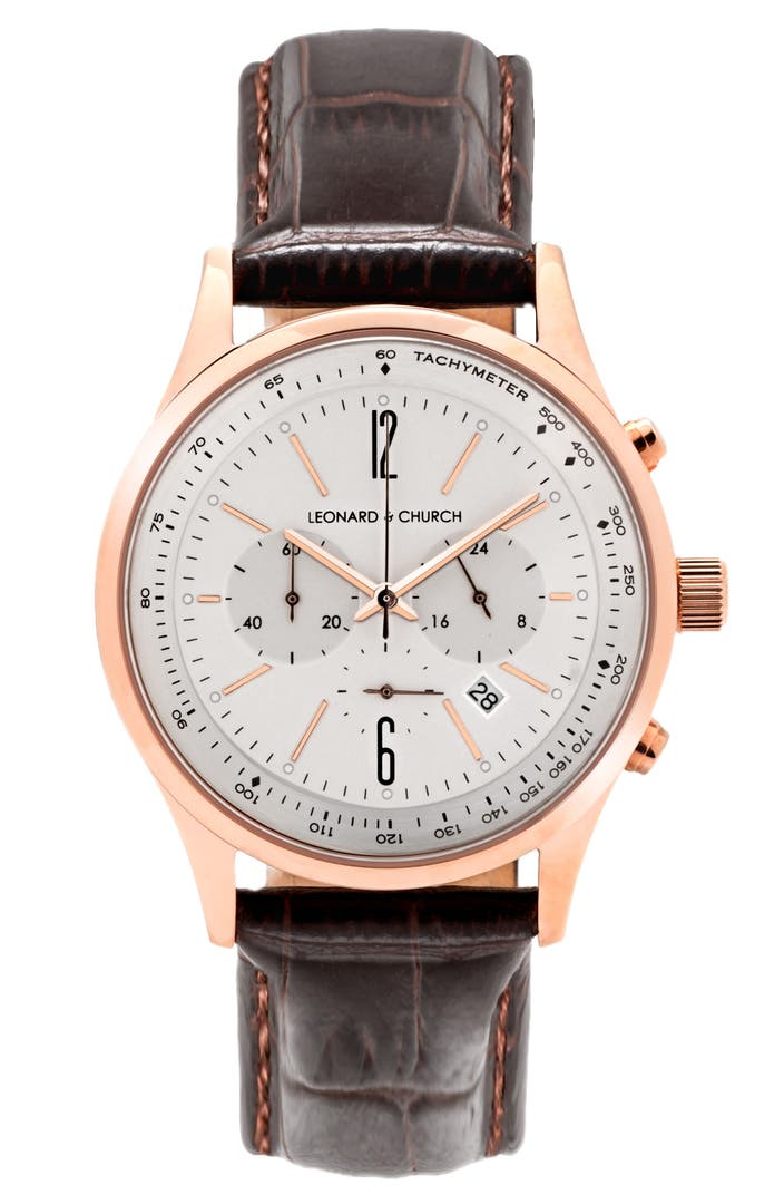 Leonard church barclay chronograph leather strap watch 43mm nordstrom for Leather strap watches