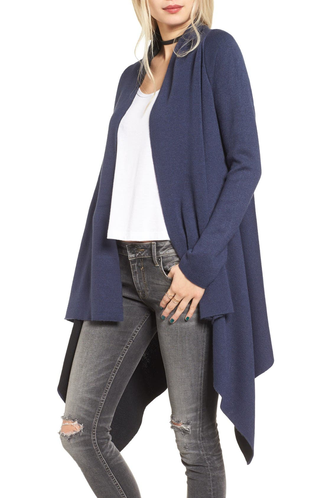 Alternate Image 1 Selected - Love by Design Two-Tone Open Front Cardigan