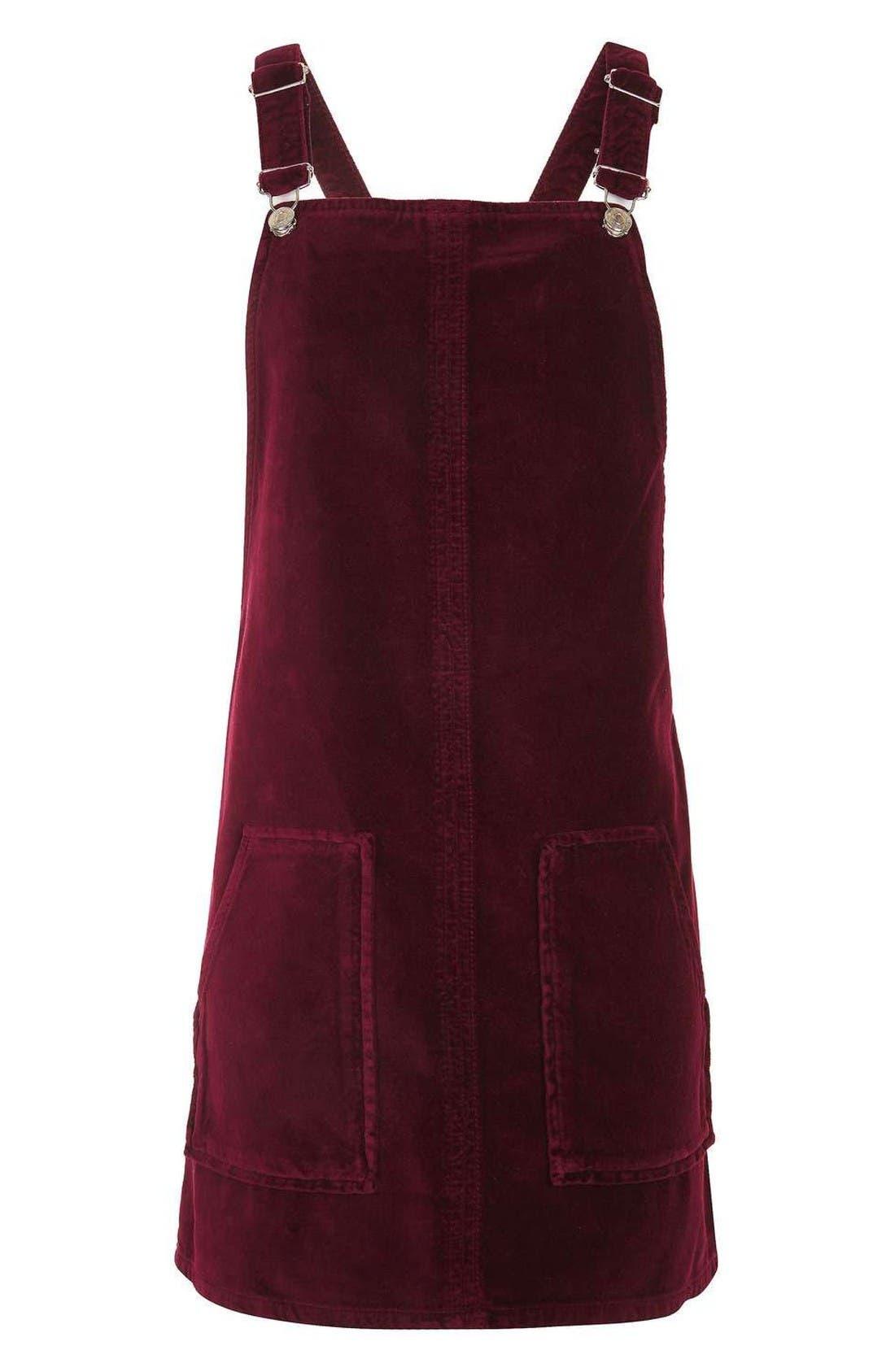 Alternate Image 4  - Topshop Velvet Pinafore Dress