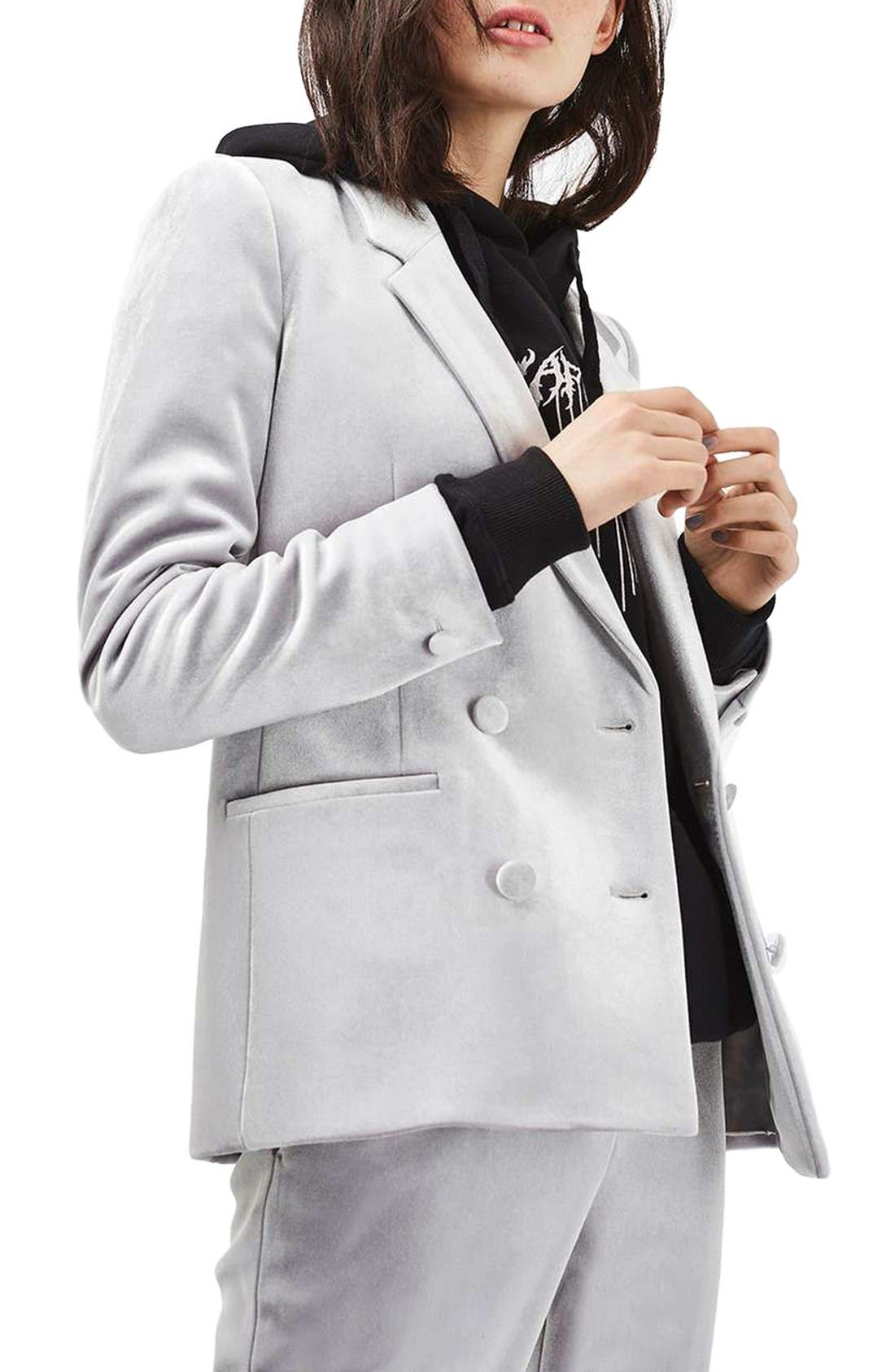 Alternate Image 1 Selected - Topshop Velvet Suit Jacket