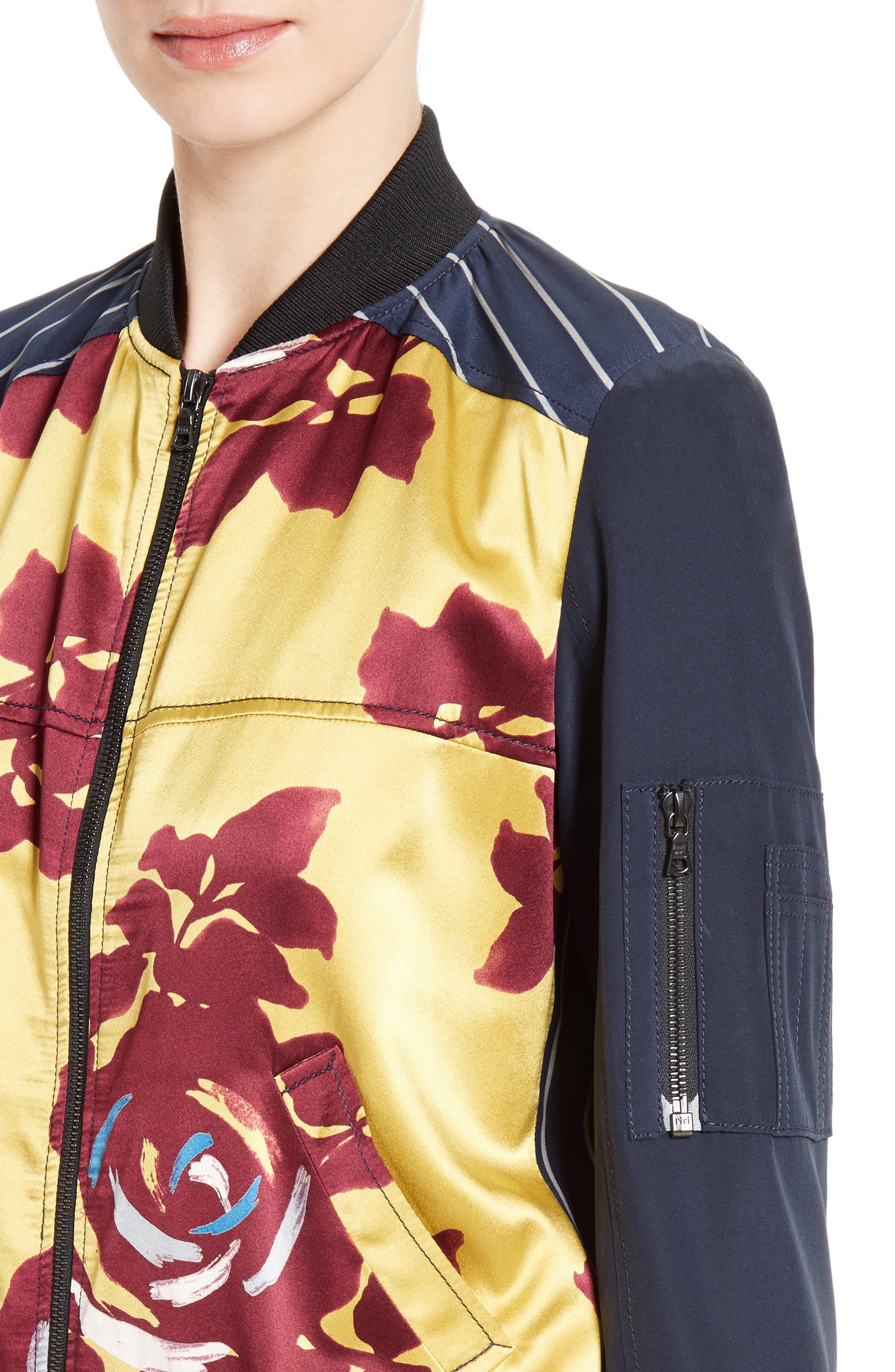 Alternate Image 4  - Cinq à Sept Harper Silk Satin Bomber Jacket