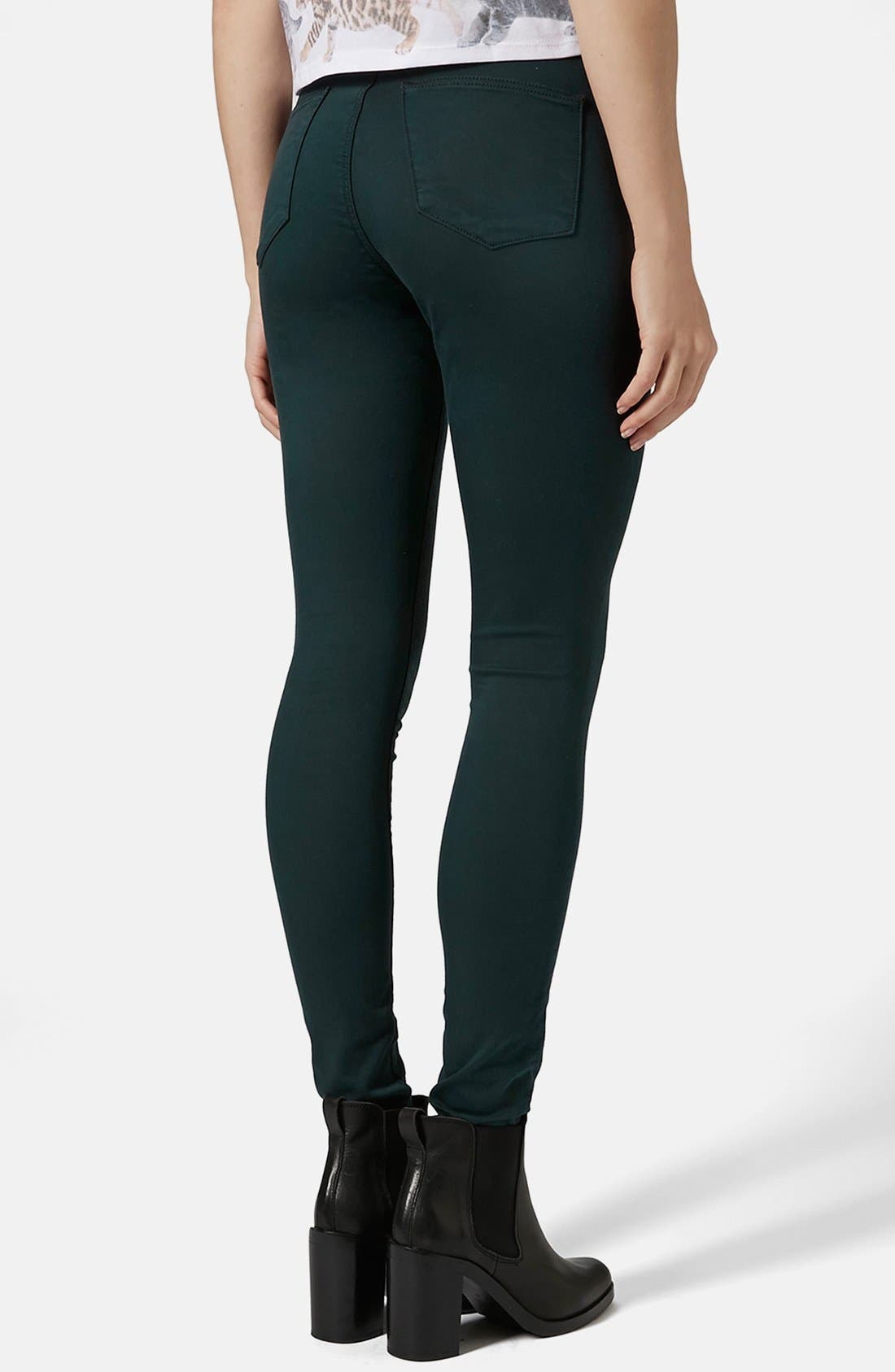 Alternate Image 2  - Topshop Moto 'Leigh' High Rise Skinny Jeans (Teal) (Regular & Short)