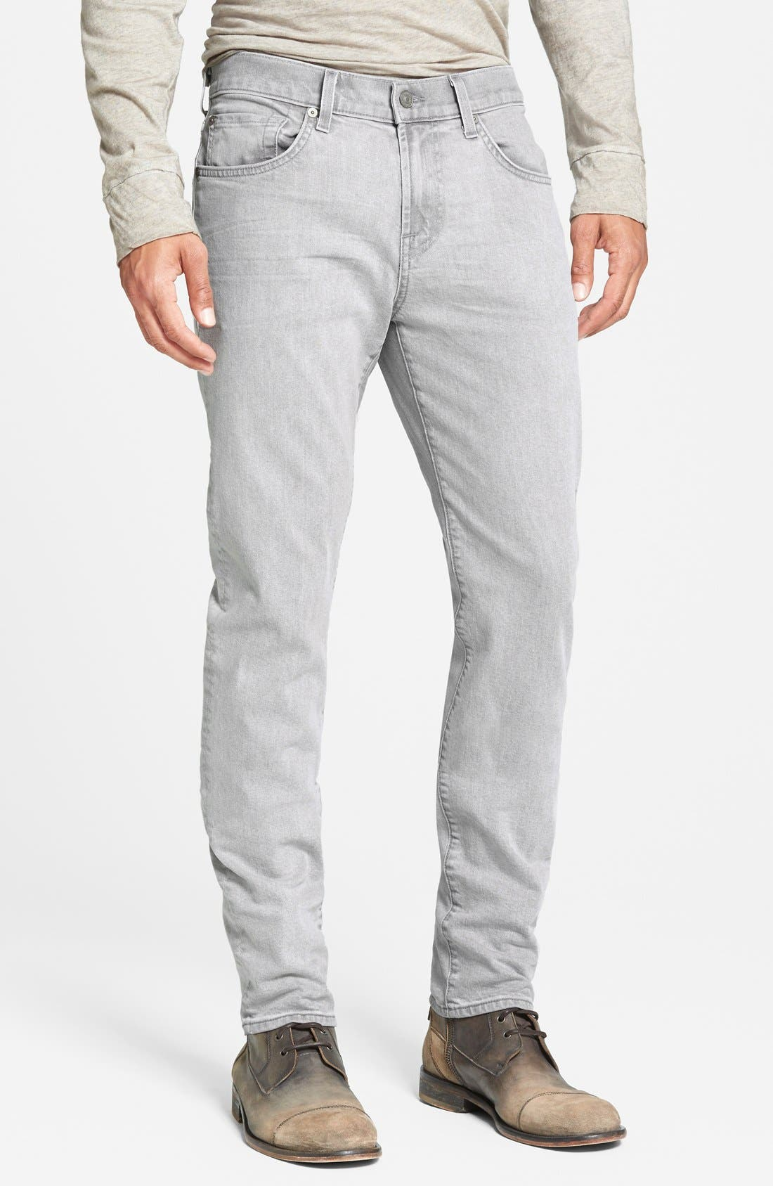 Alternate Image 1 Selected - 7 For All Mankind® 'Paxtyn' Slim Straight Leg Jeans (Clean Grey)