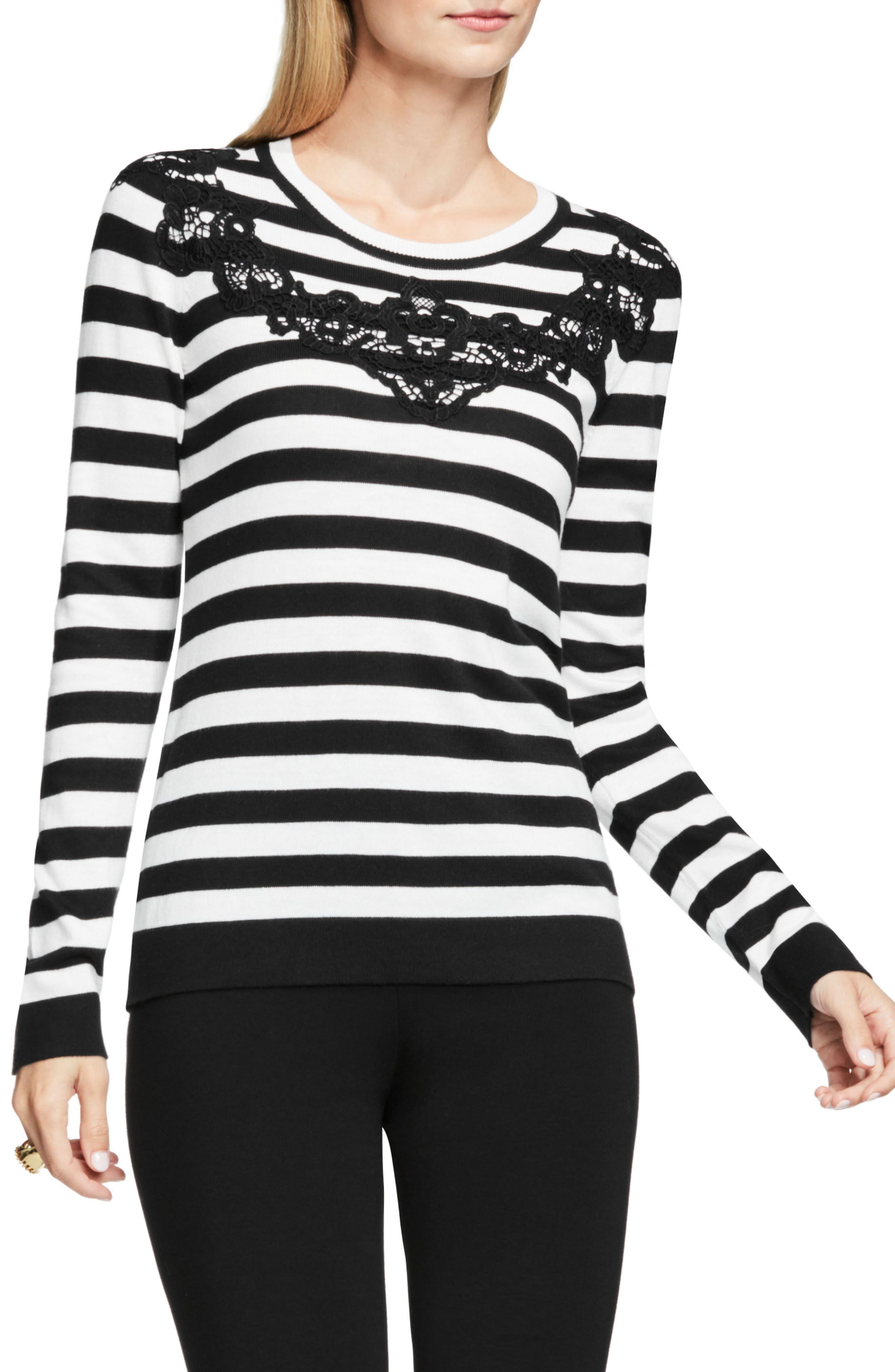 Main Image - Vince Camuto Lace Trim Stripe Sweater (Petite)
