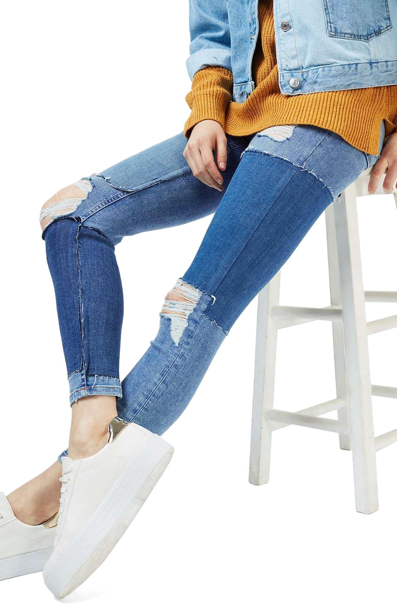 Alternate Image 5  - Topshop Moto Jamie Rip Panel Skinny Jeans