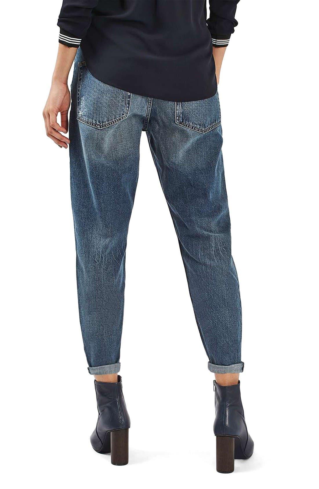 Alternate Image 3  - Topshop Moto Hayden Destroyed Boyfriend Jeans (Dirty Blue)