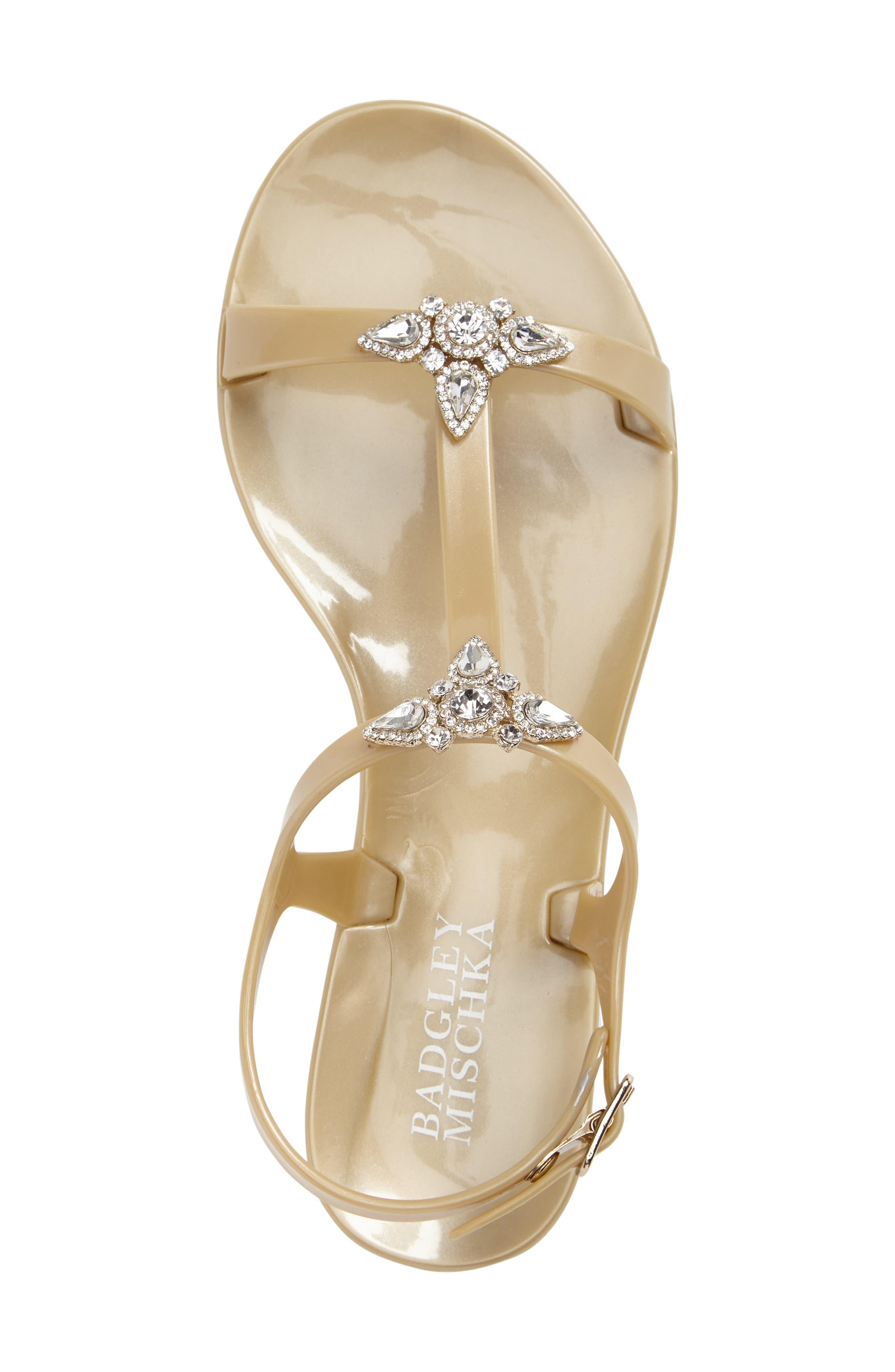 Alternate Image 3  - Badgley Mischka Belize Crystal Embellished Flat Sandal (Women)