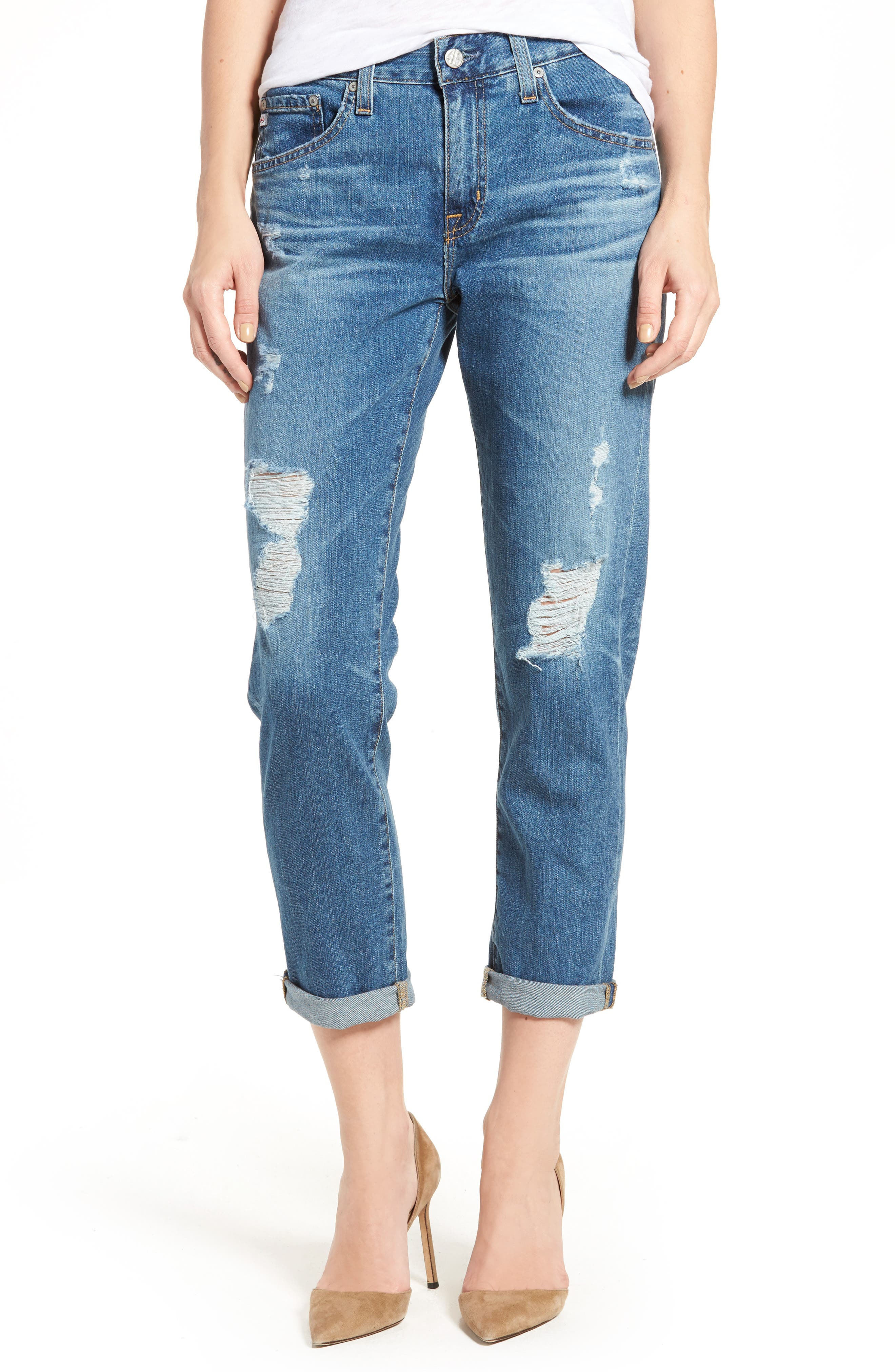 Main Image - AG Ex-Boyfriend Crop Slim Jeans (12 Years Aroma)