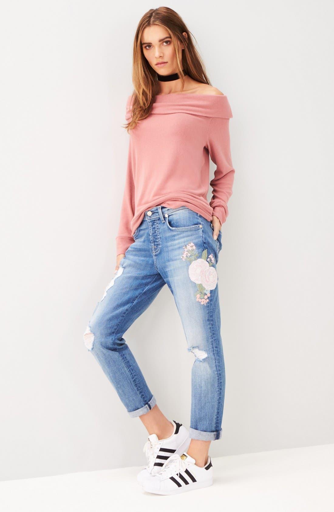 Alternate Image 2  - 7 For All Mankind® Josefina Embroidered Boyfriend Jeans (Denim Embroidery Botanical)