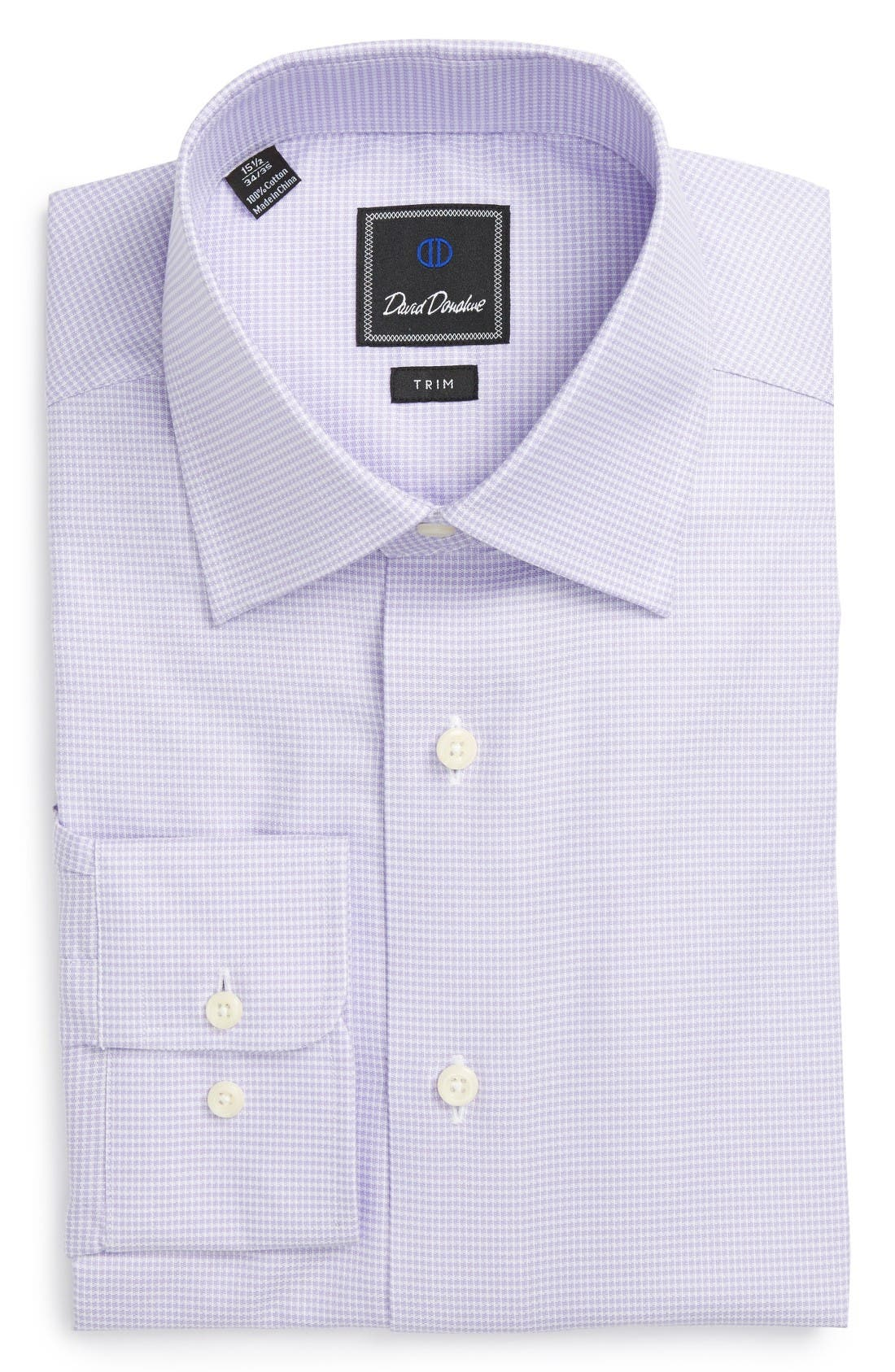 DAVID DONAHUE Trim Fit Houndstooth Dress Shirt