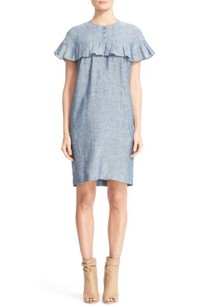 Angela Ruffle Chambray Dress BURBERRY 40% off