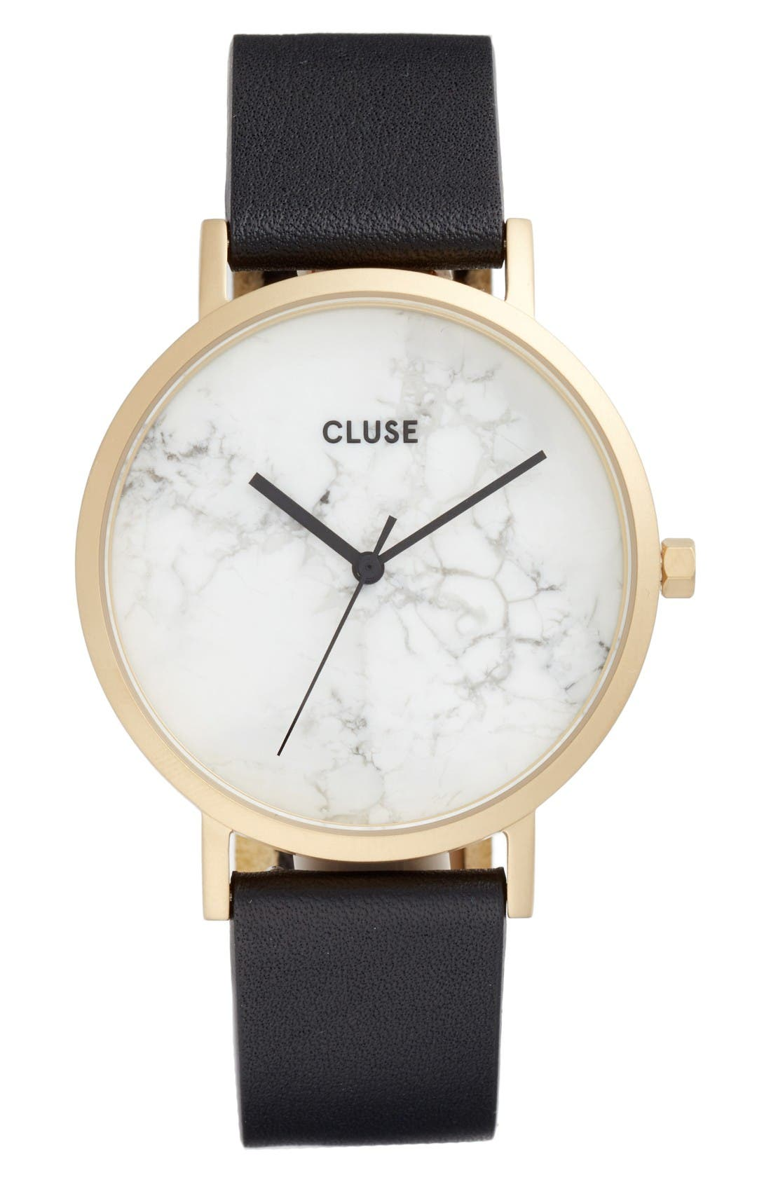 Alternate Image 1 Selected - CLUSE La Roche Marble Leather Strap Watch, 38mm