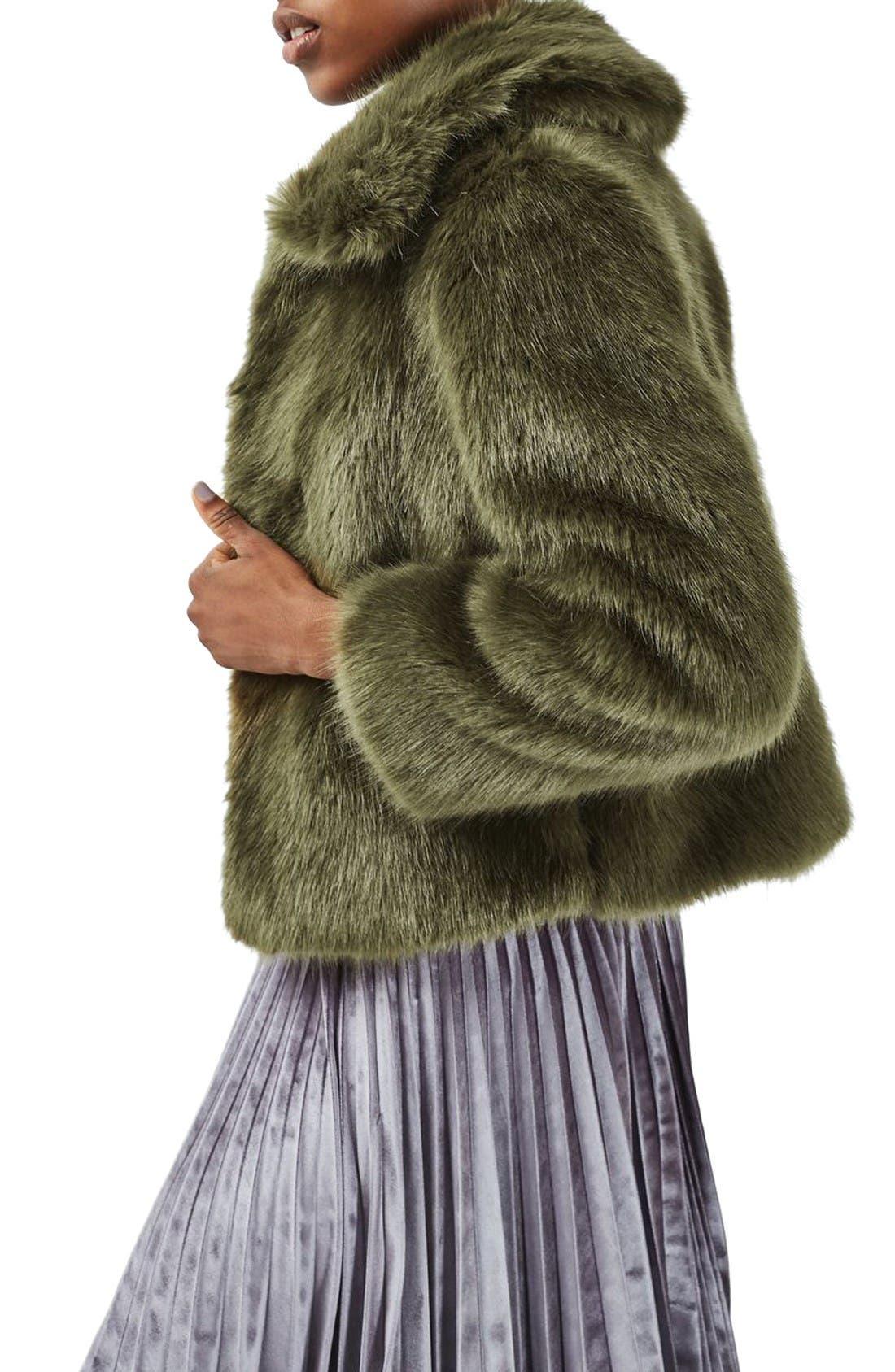 Alternate Image 3  - Topshop Claire Faux Fur Coat