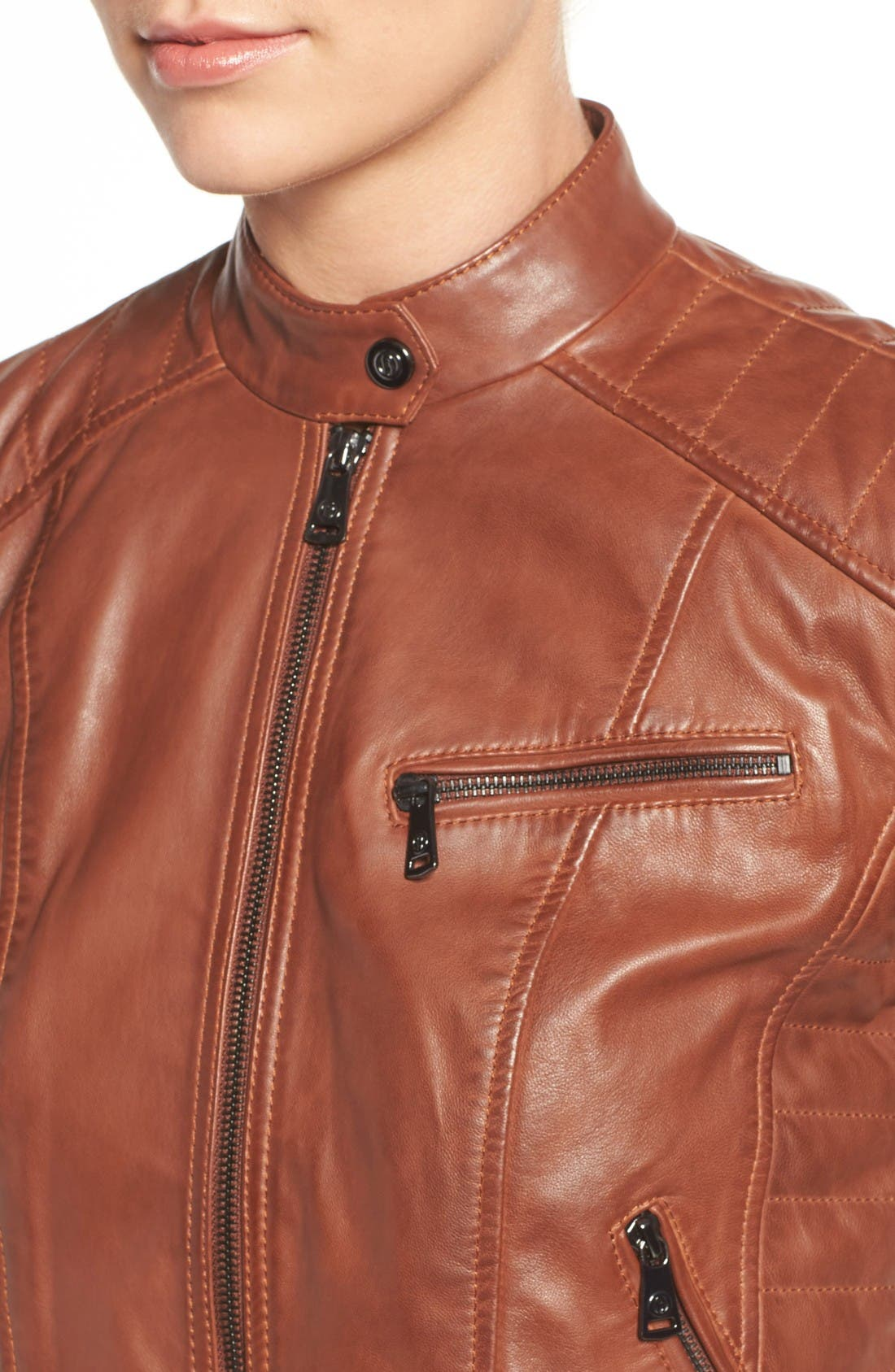Alternate Image 4  - Bernardo Quilted Leather Moto Jacket (Regular & Petite)