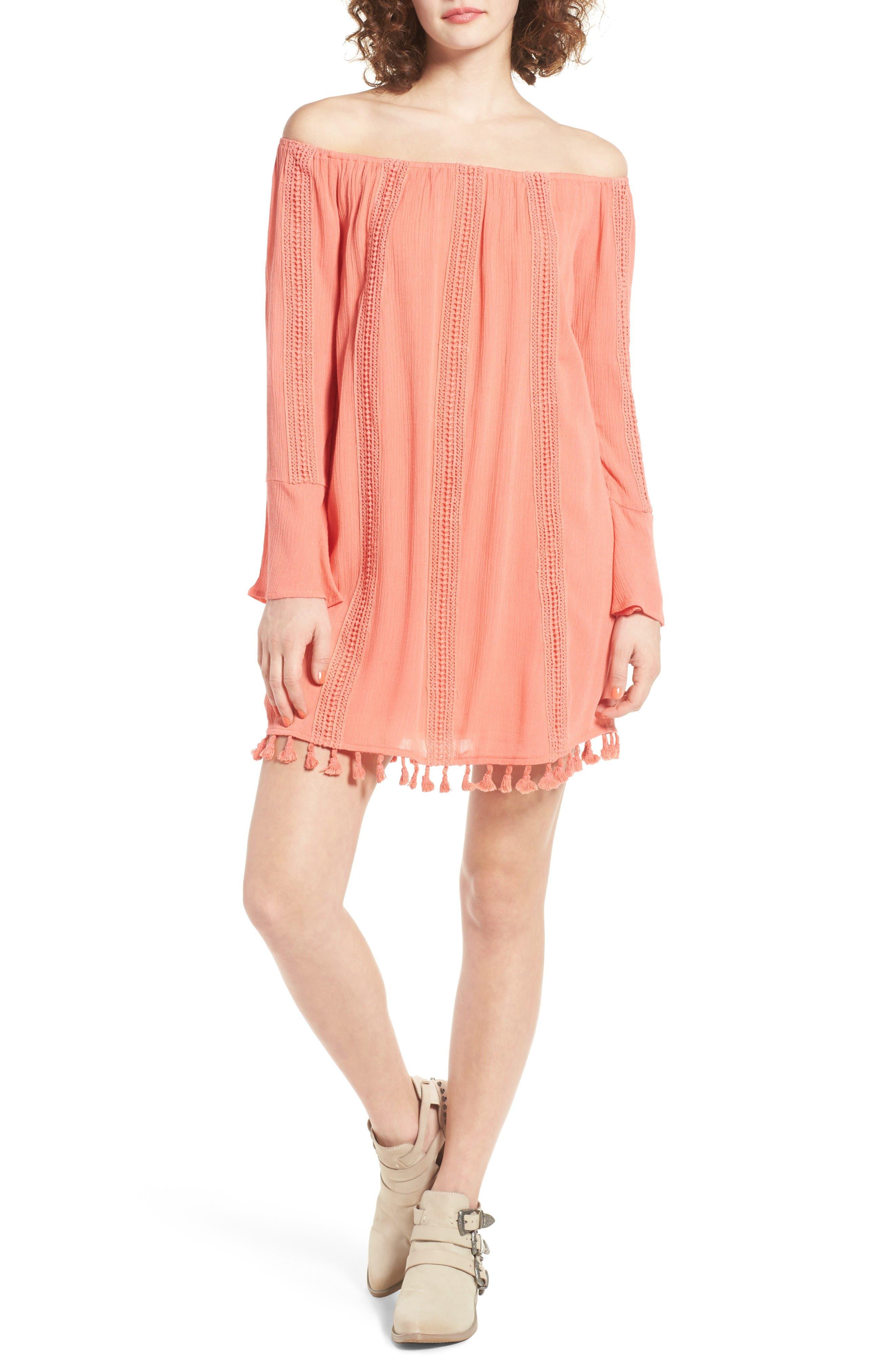 Main Image - Dee Elly Tassel Trim Off the Shoulder Dress