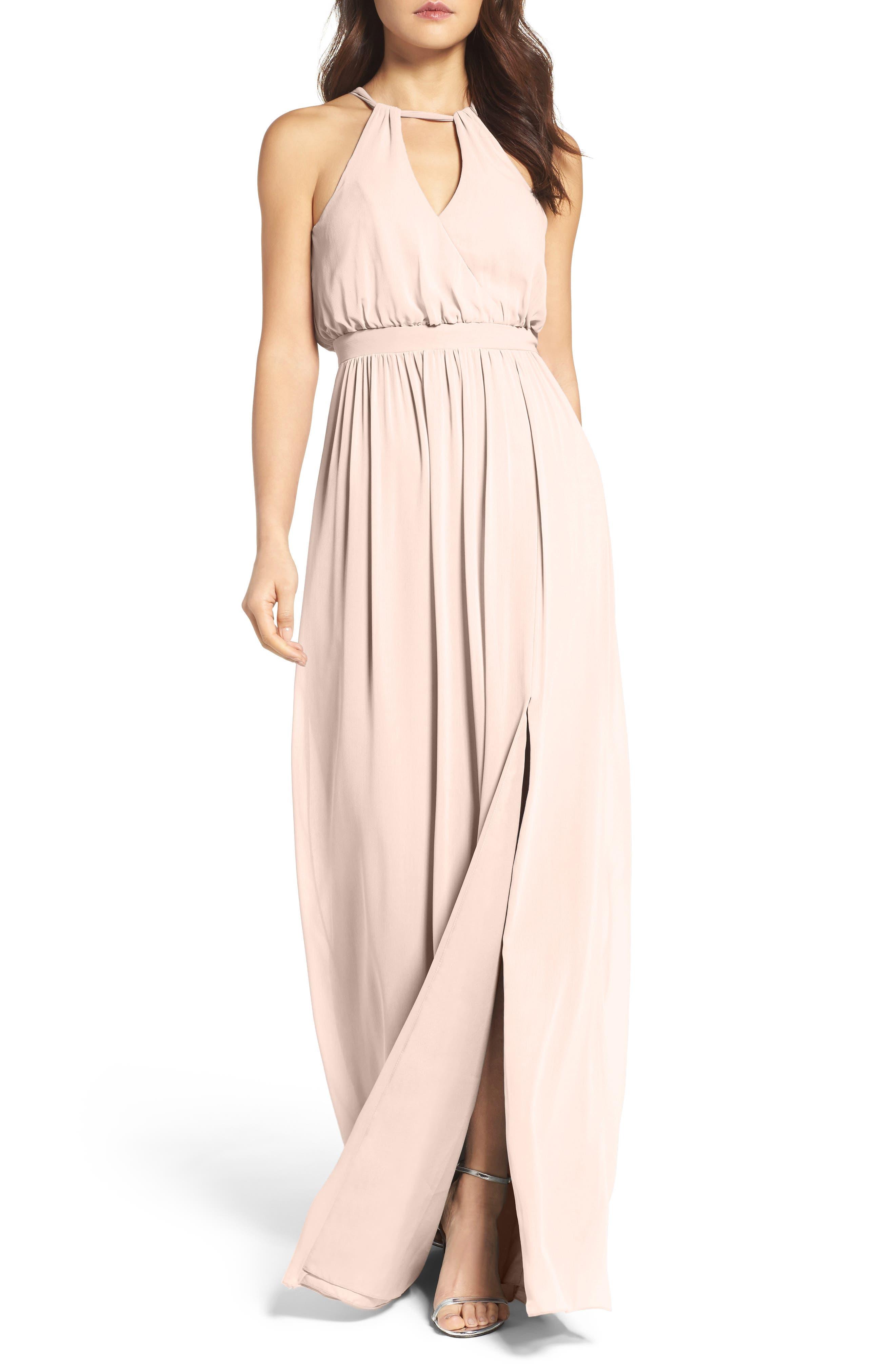 Watters Fleurette A-Line Chiffon Gown