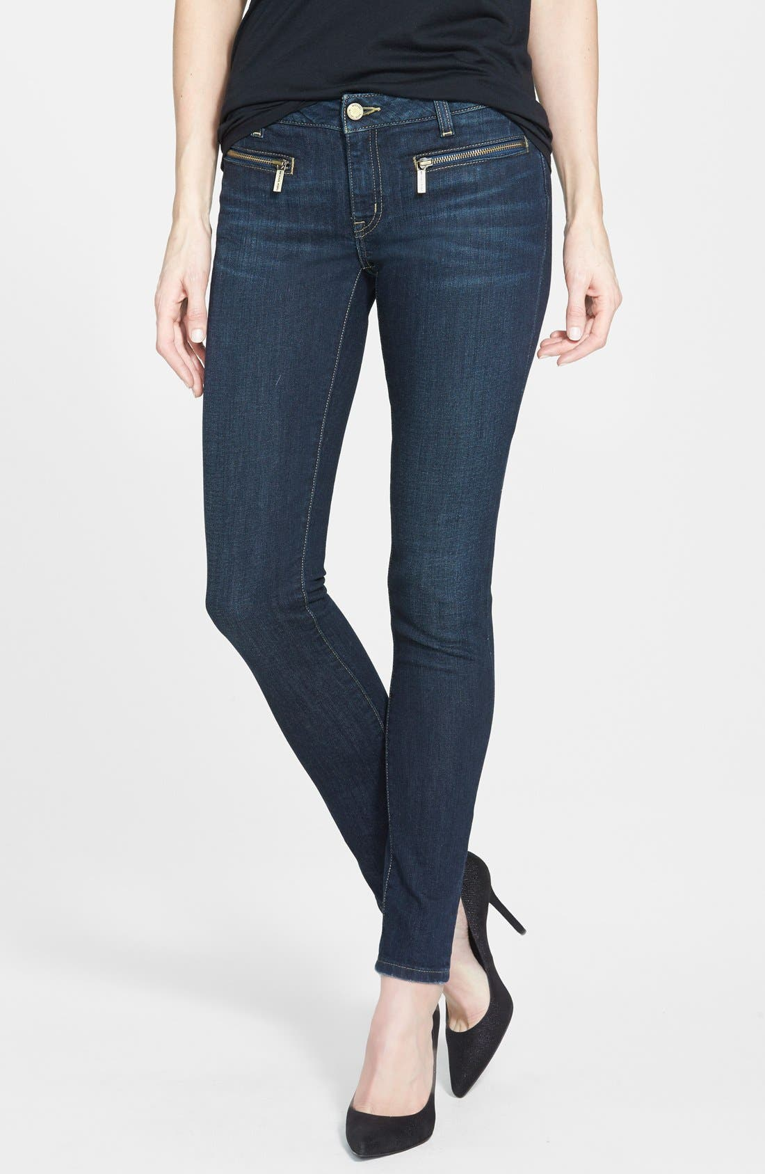 Alternate Image 1 Selected - MICHAEL Michael Kors Zip Pocket Skinny Jeans (Veruschka) (Petite)