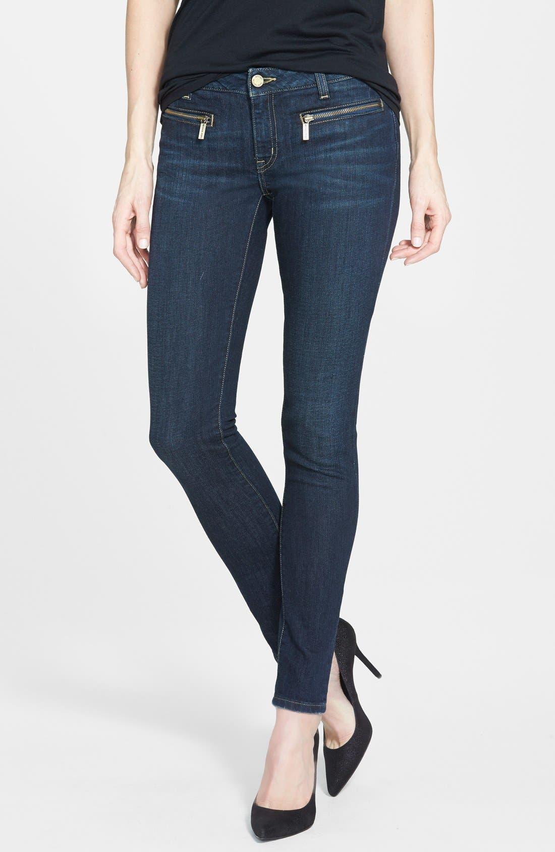 Main Image - MICHAEL Michael Kors Zip Pocket Skinny Jeans (Veruschka) (Petite)