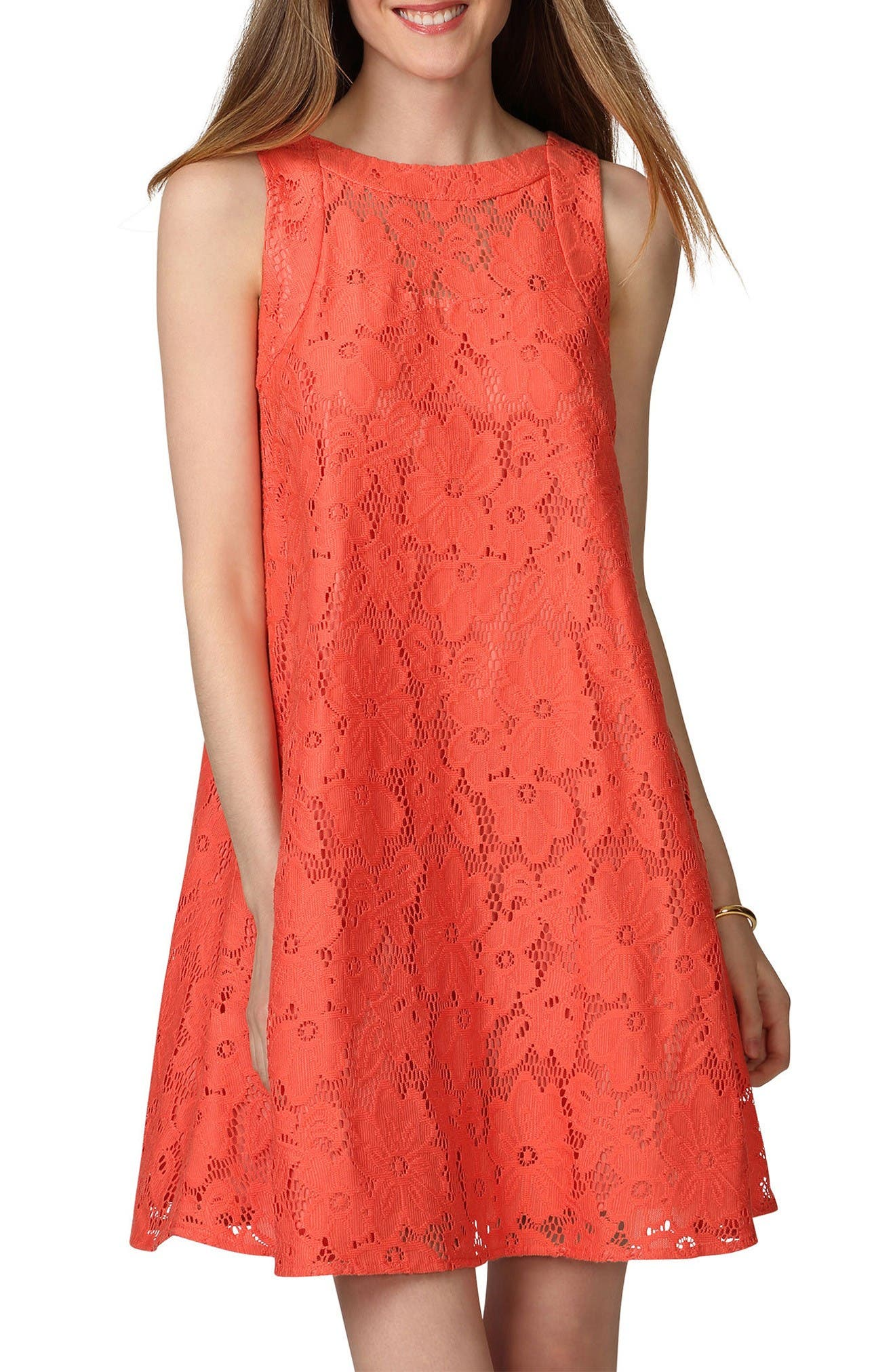 DONNA MORGAN Floral Lace Swing Dress