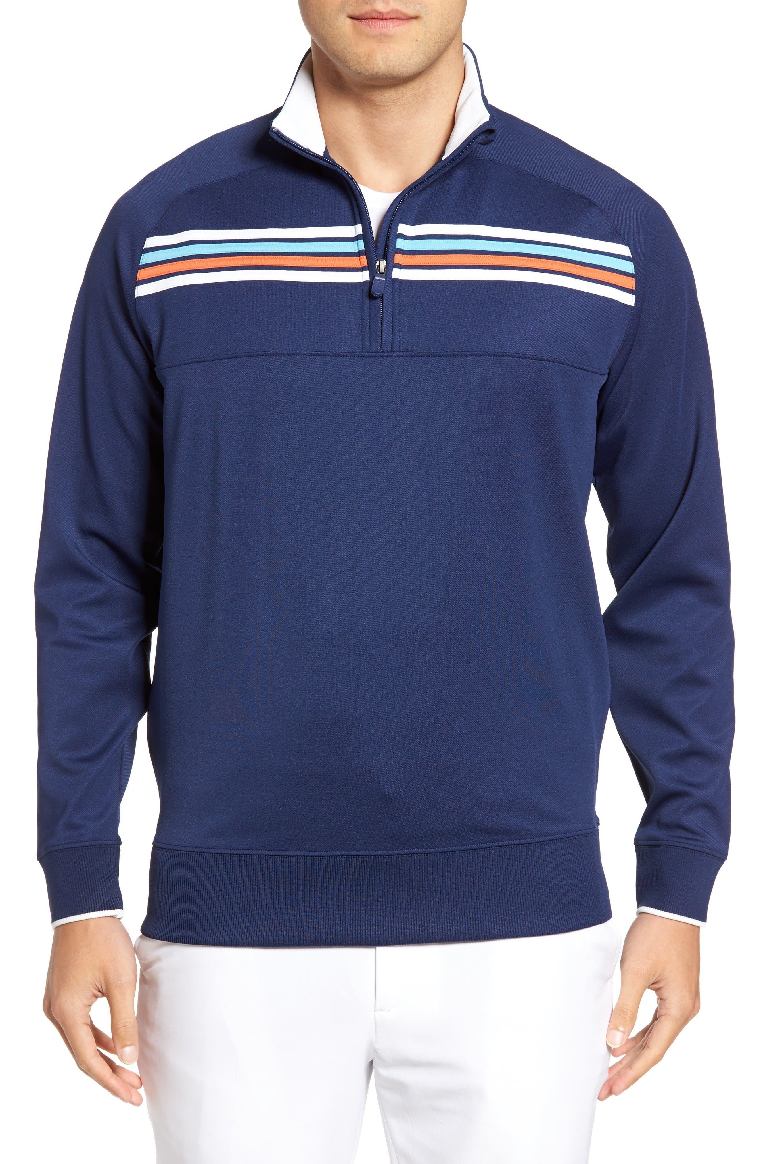 BOBBY JONES XH20 Chest Stripe Quarter Zip Pullover