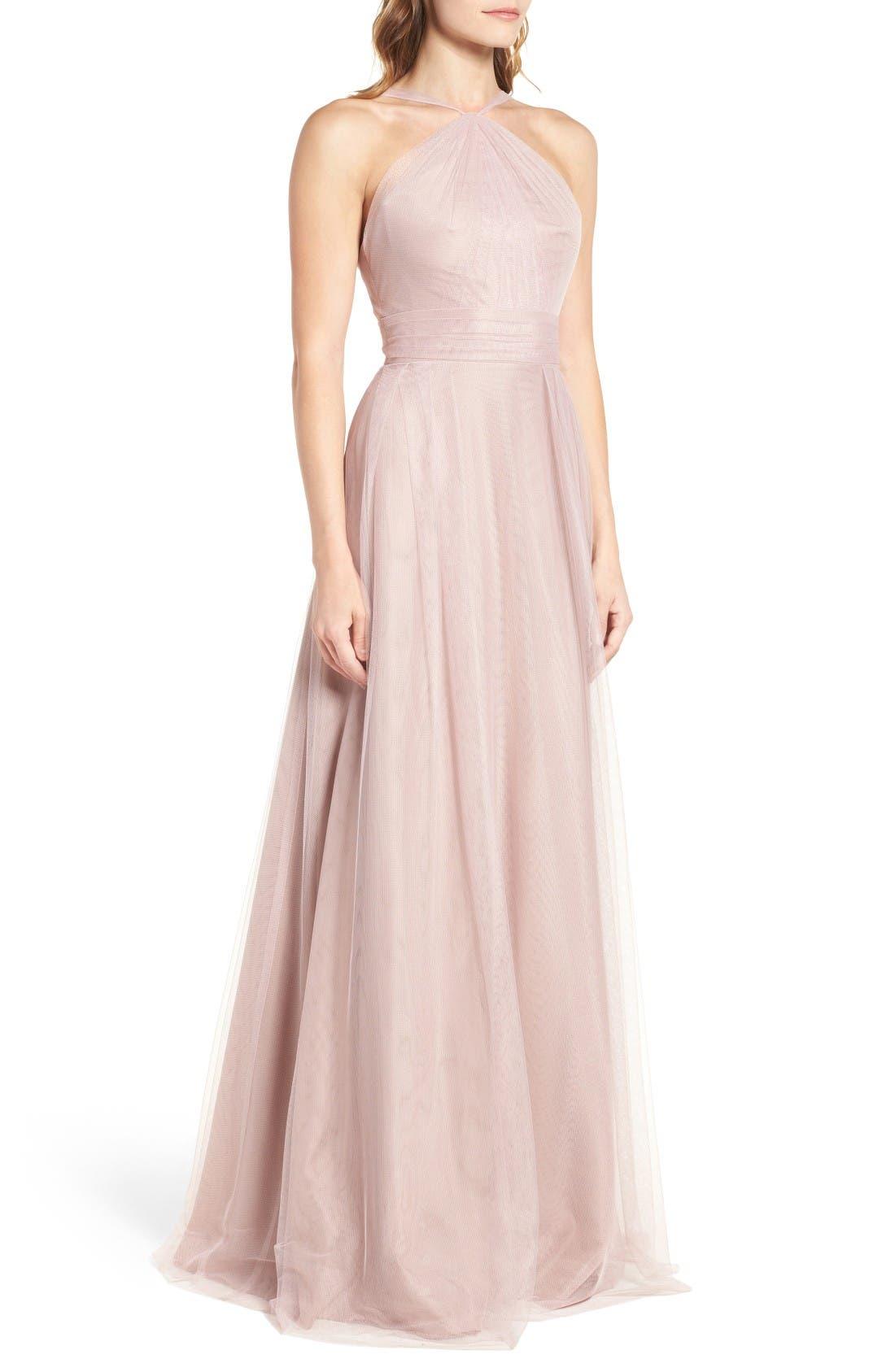 Alternate Image 4  - Monique Lhuillier Bridesmaids Tulle Halter Style Gown