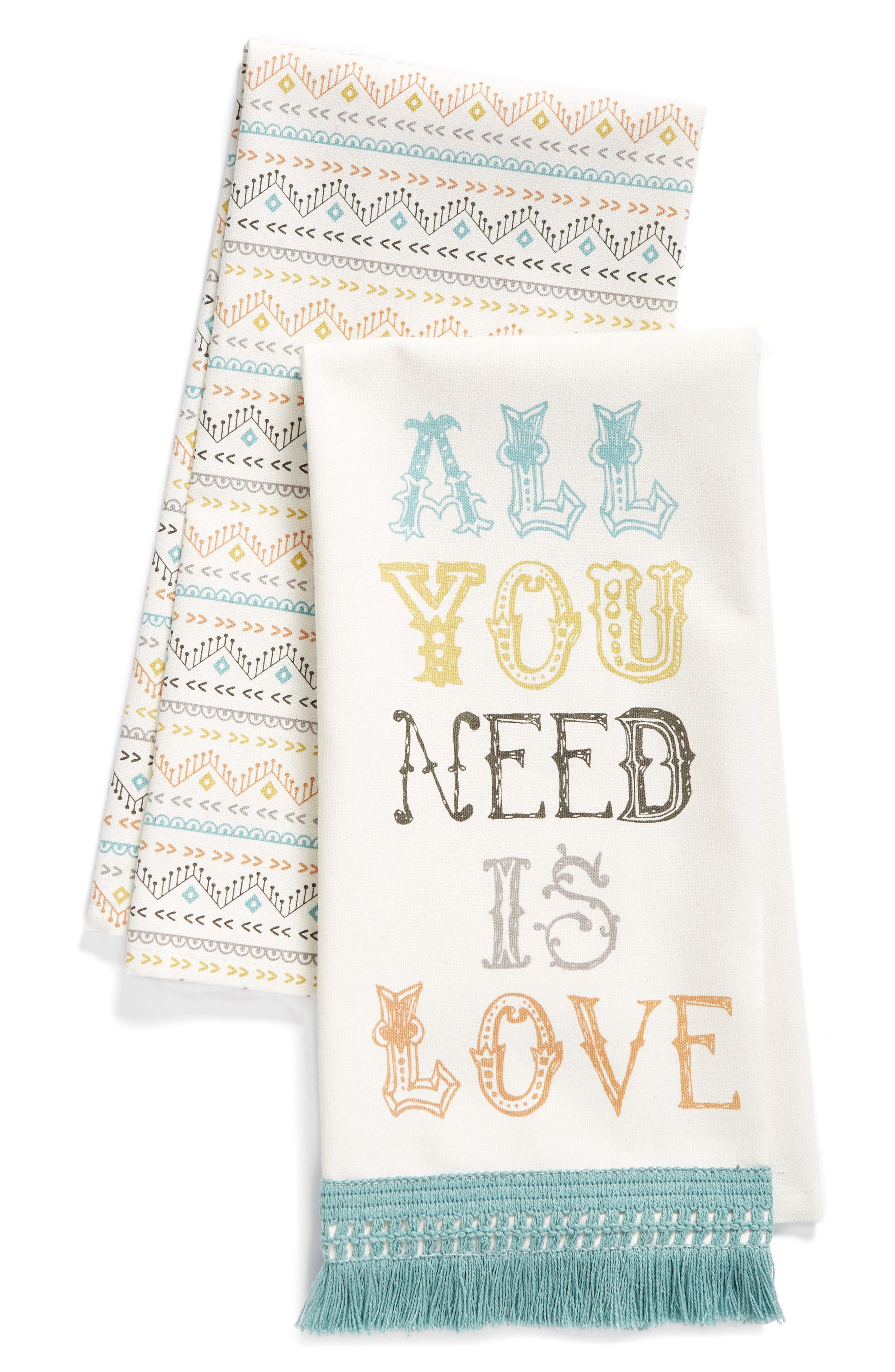 Alternate Image 1 Selected - Levtex All You Need Is Love Set of 2 Dish Towels