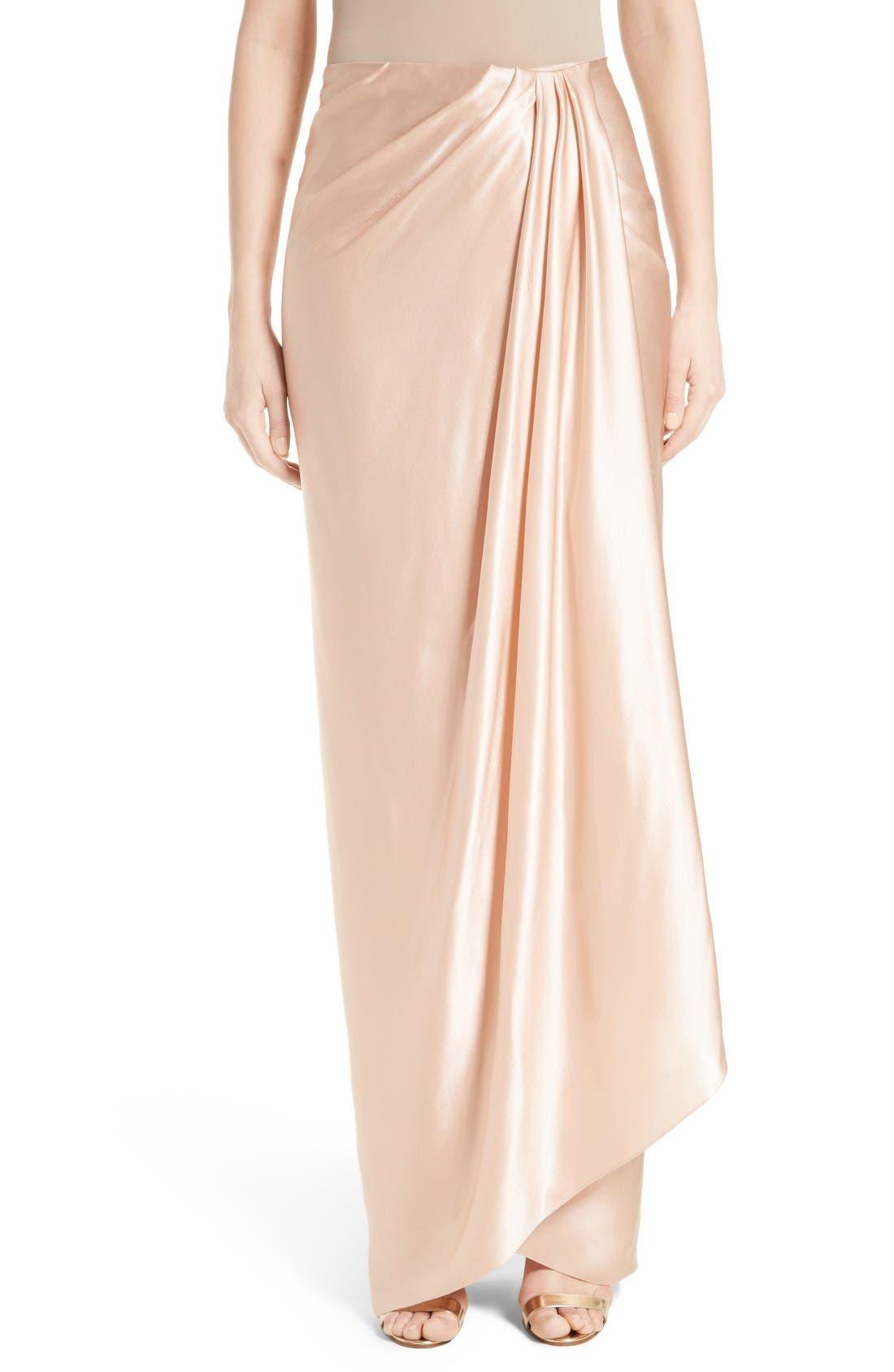 Marchesa Grecian Draped Satin Georgette Wrap Skirt
