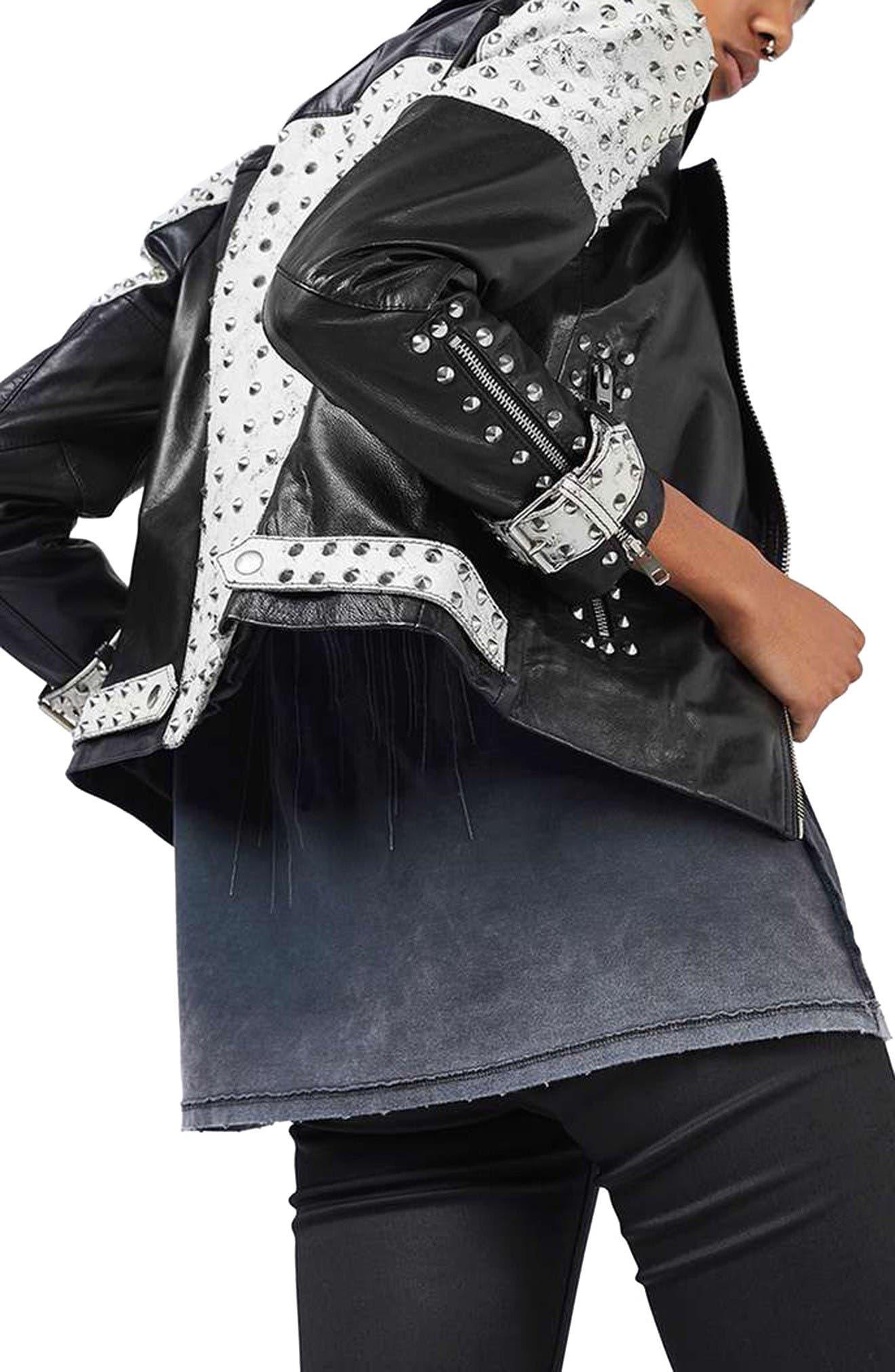 Alternate Image 3  - Topshop Maddox Studded Leather Jacket