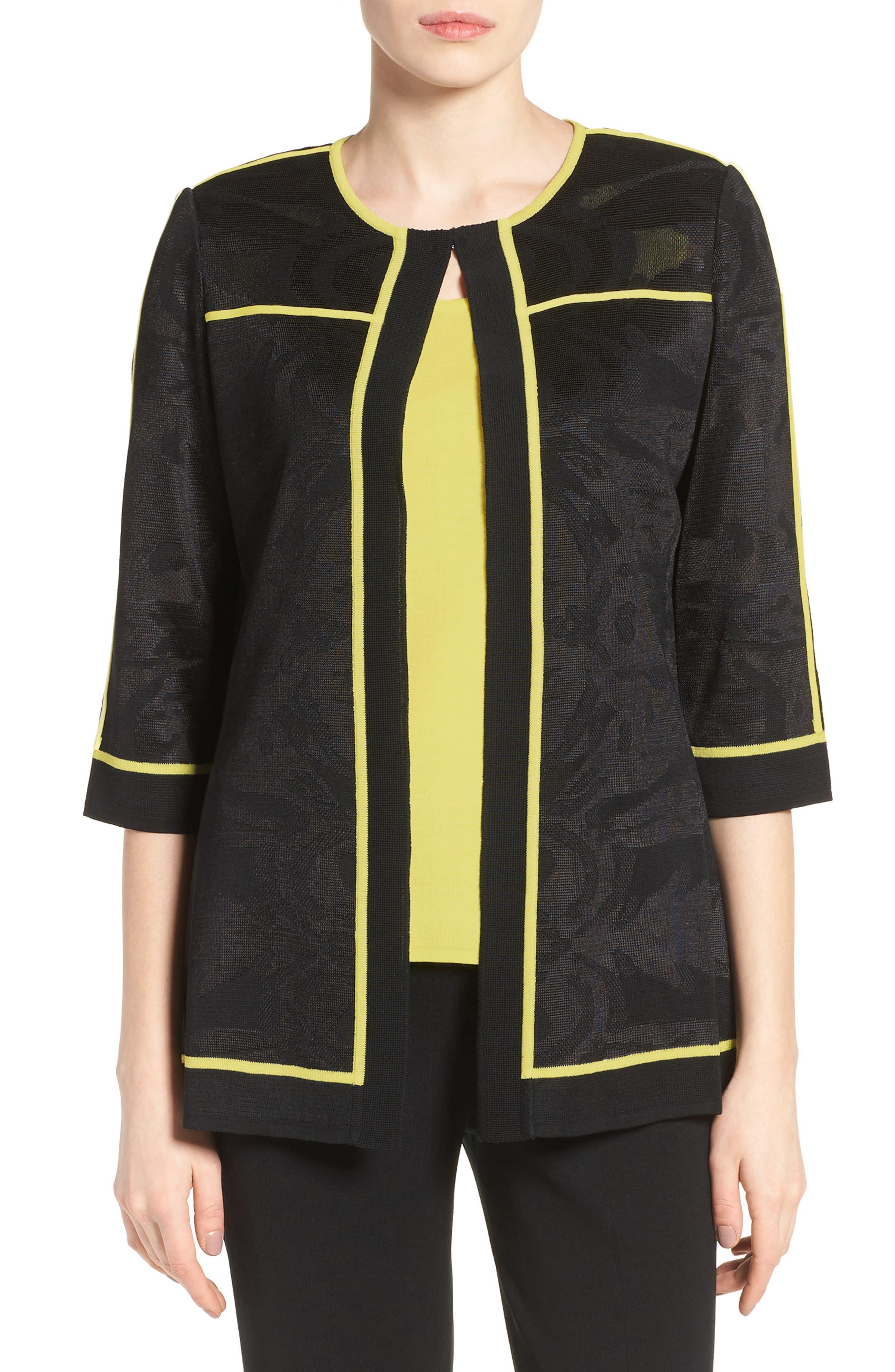 Ming Wang Contrast Piping Burnout Floral Knit Jacket