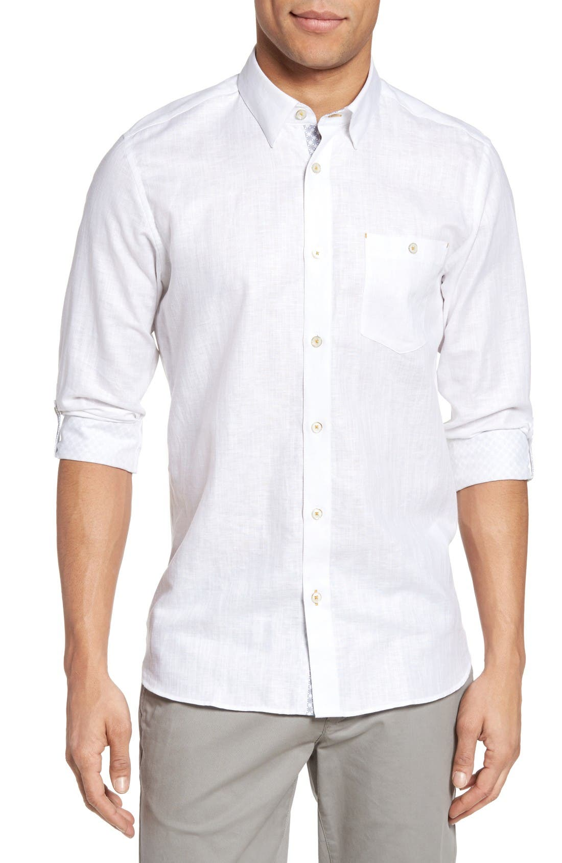 Ted Baker London Laavno Extra Slim Fit Linen Blend Sport Shirt