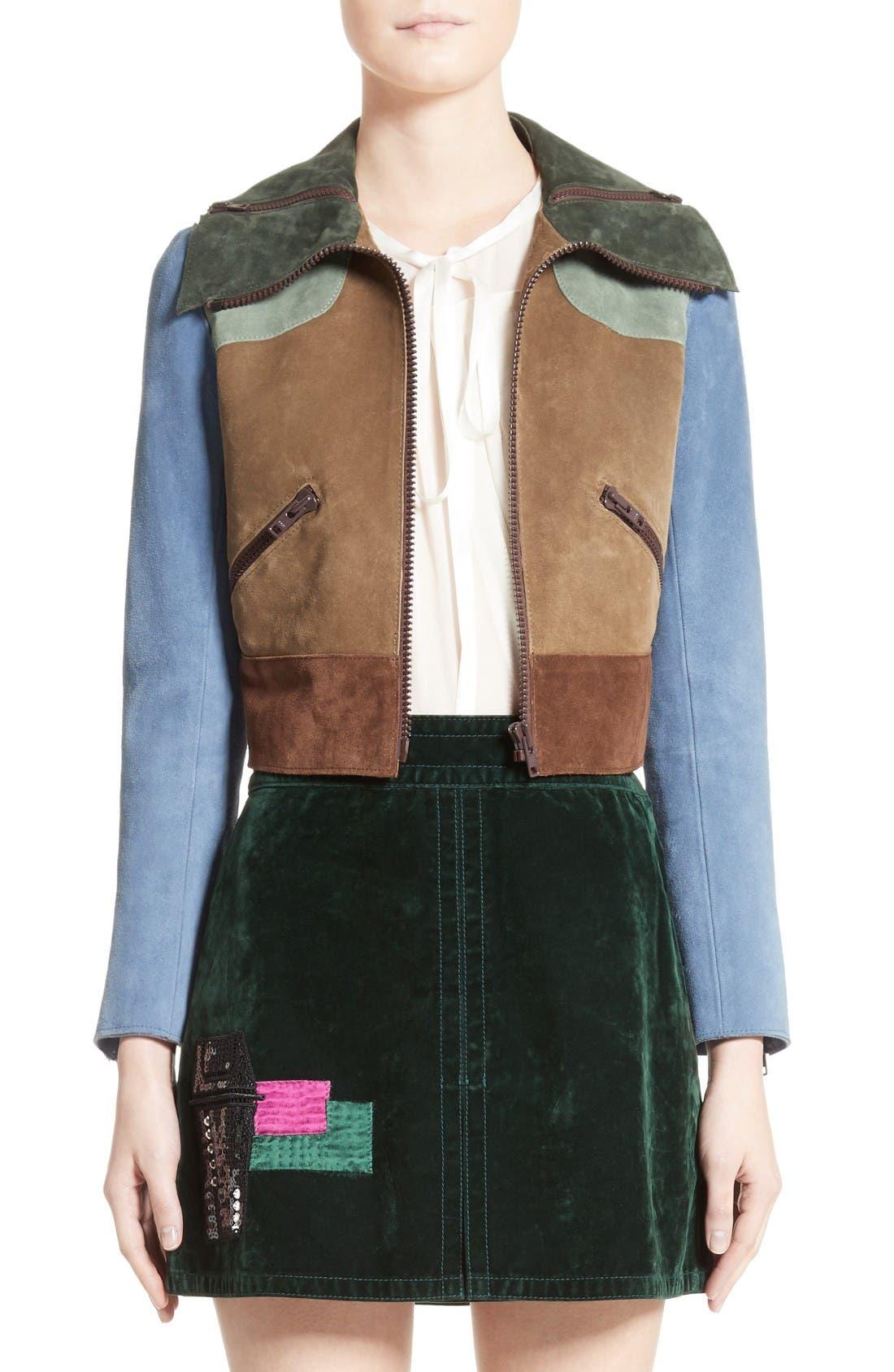 Alternate Image 1 Selected - MARC JACOBS Suede Patchwork Jacket