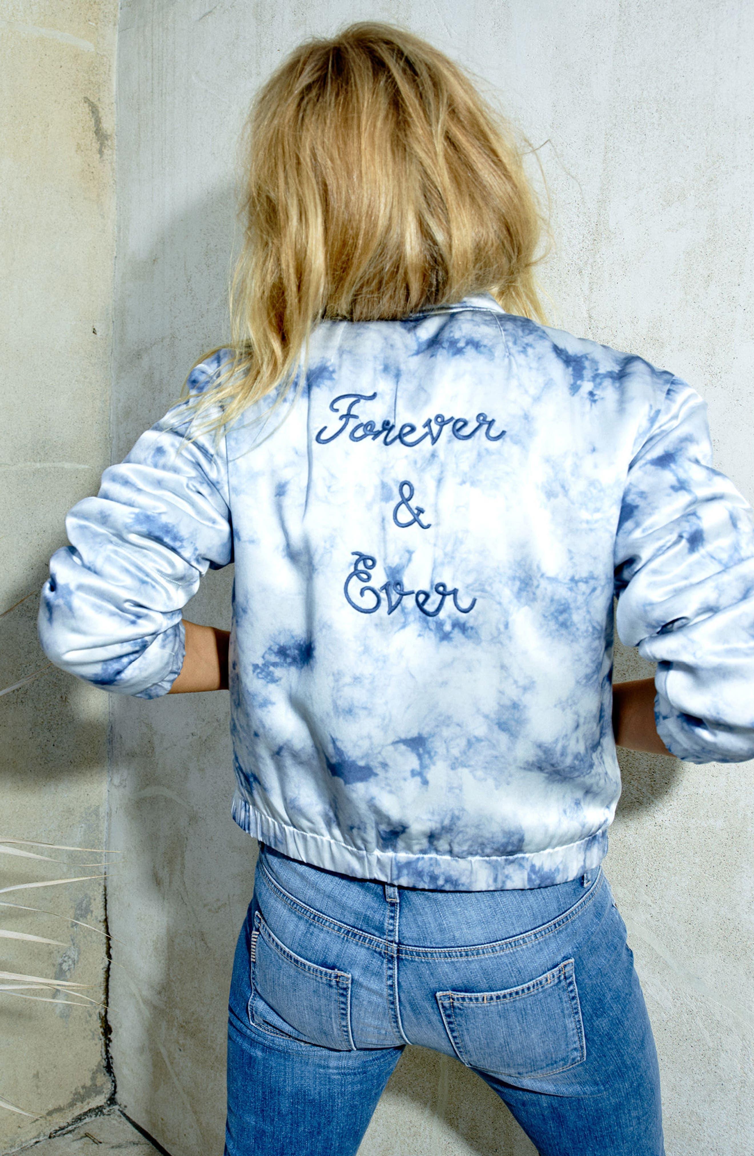 Alternate Image 4  - Rosie HW x PAIGE Flo Silk Bomber Jacket