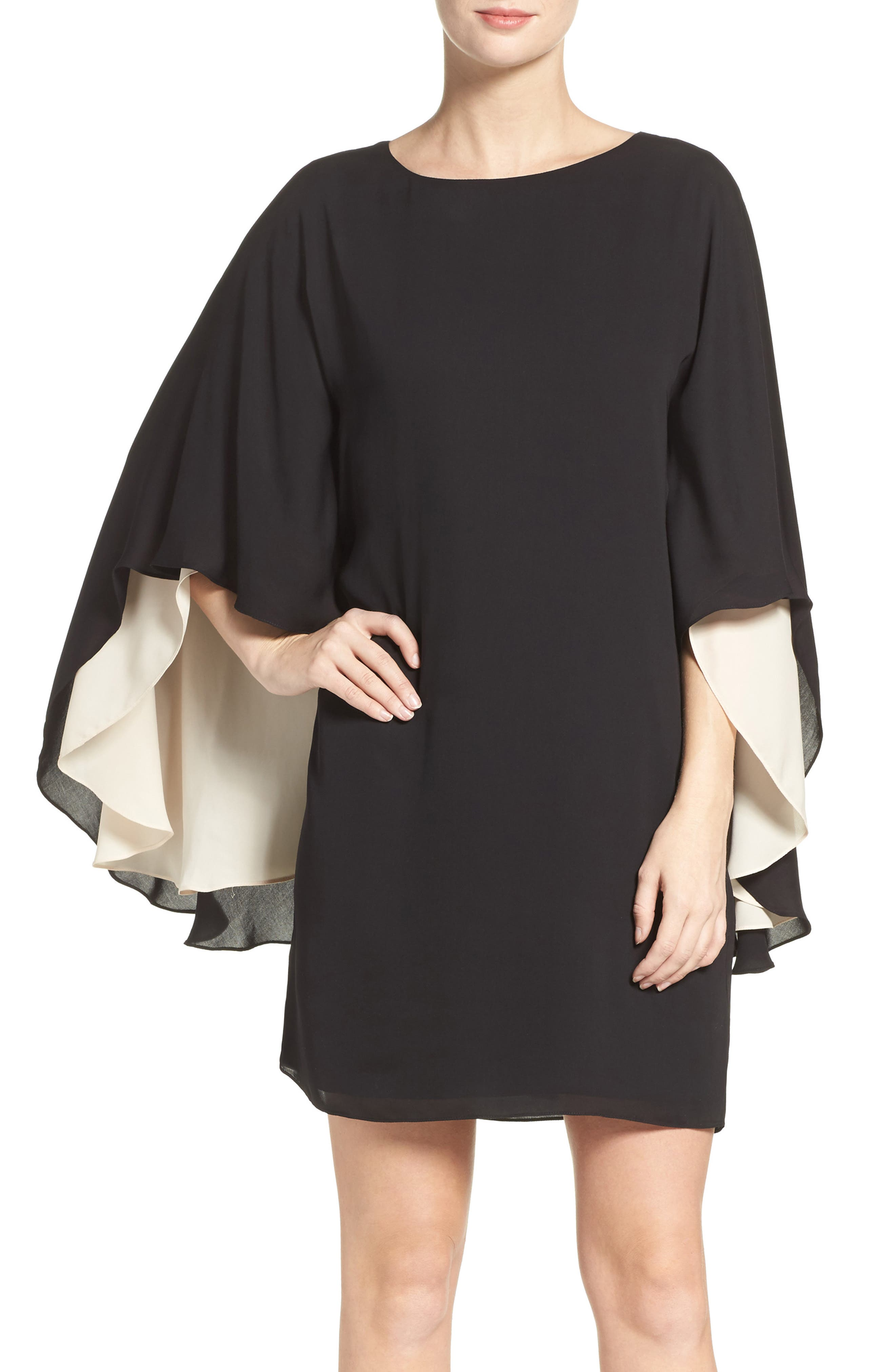 Halston Heritage Cape Sleeve Shift Dress