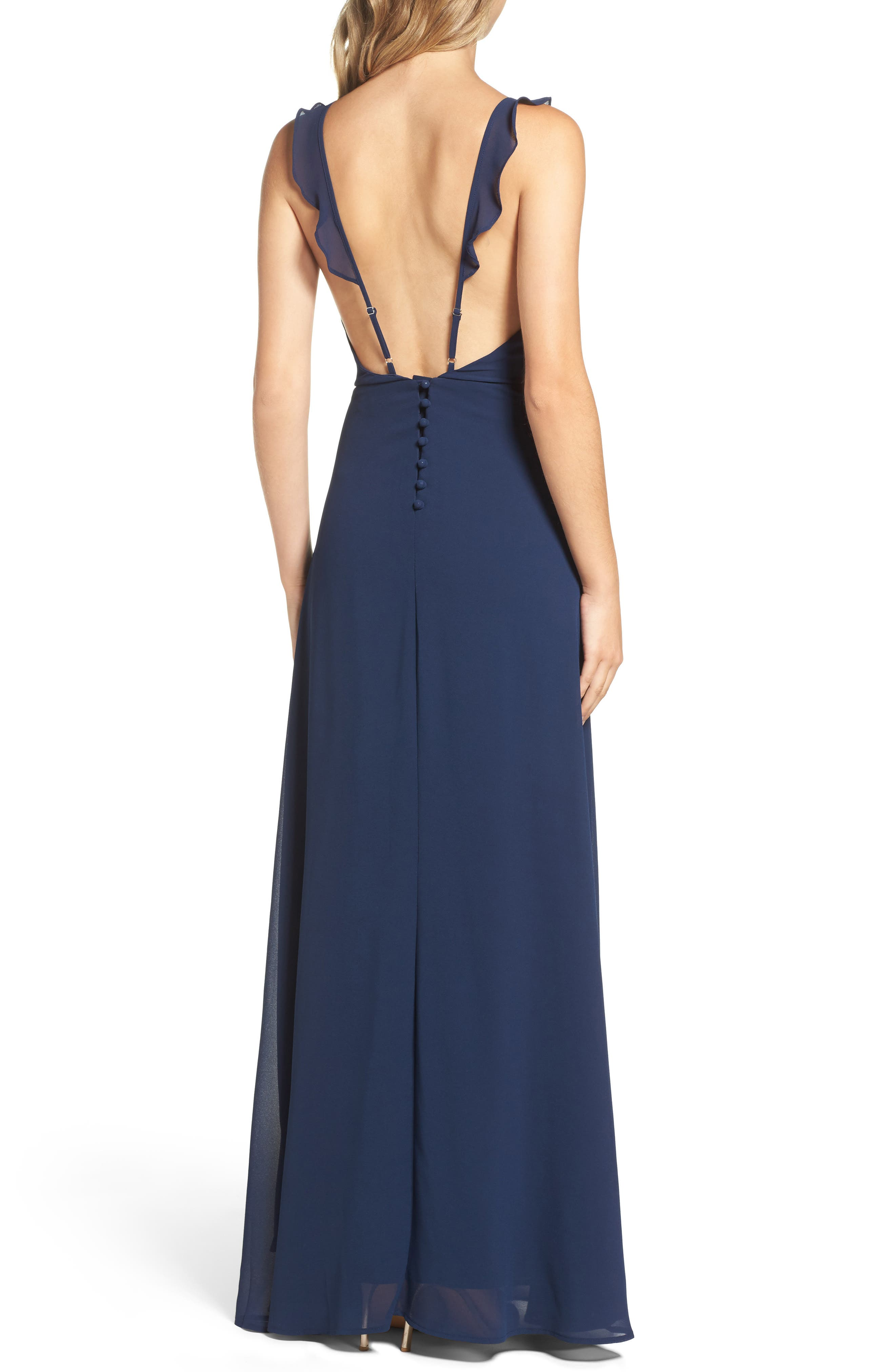 Alternate Image 2  - Lulus Flutter Strap A-Line Chiffon Gown