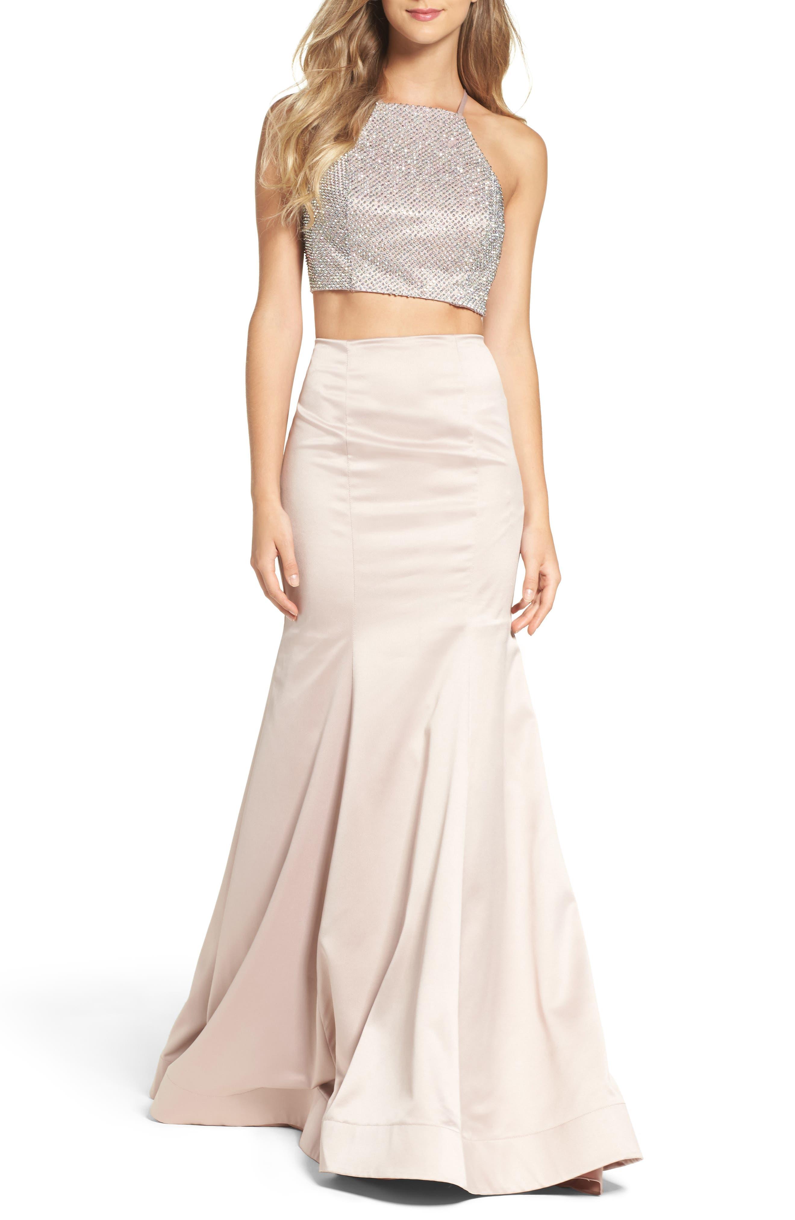 Alternate Image 1 Selected - La Femme Beaded Two-Piece Mermaid Gown