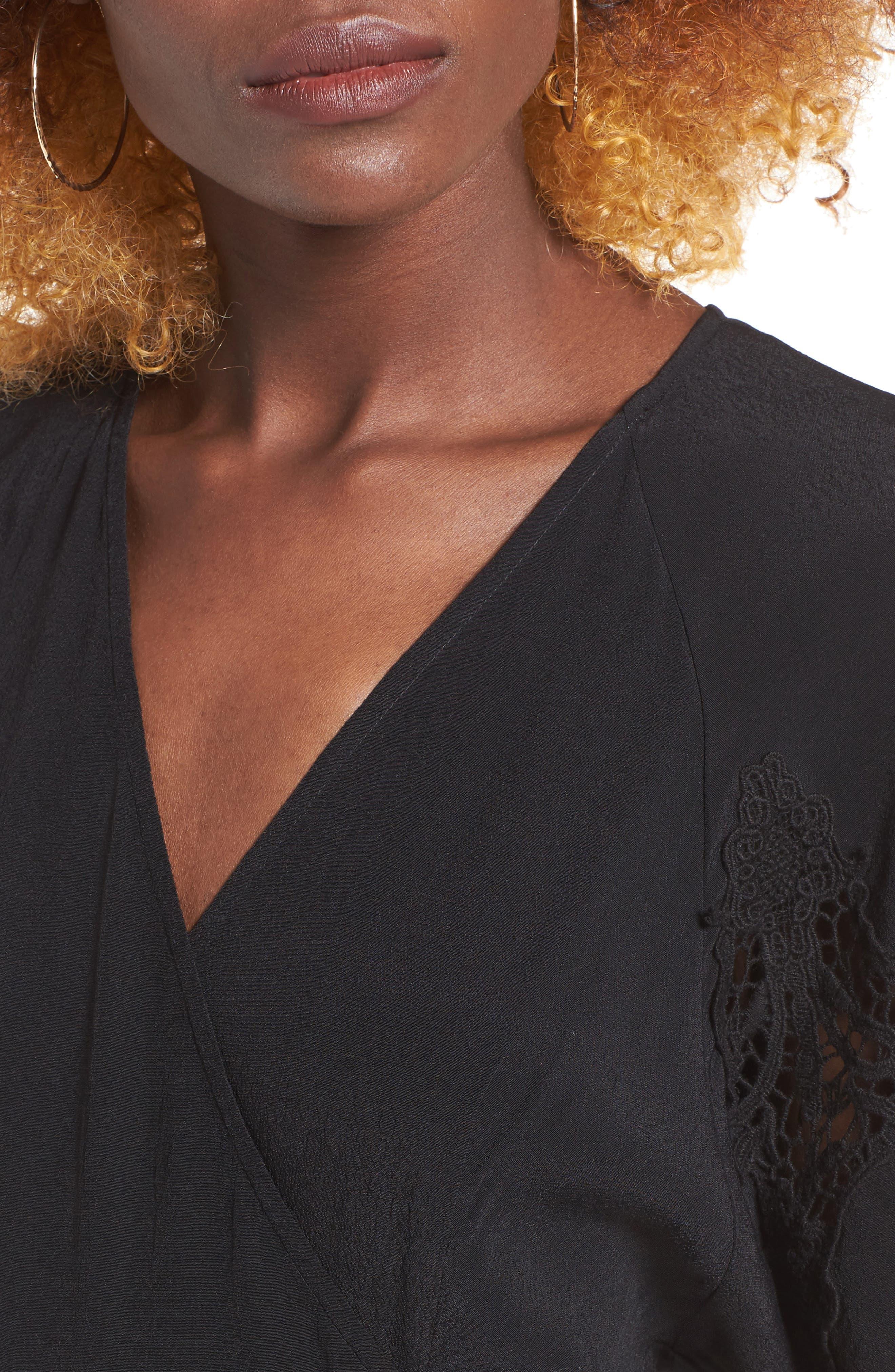 Alternate Image 4  - ASTR the Label Crochet Sleeve Wrap Dress