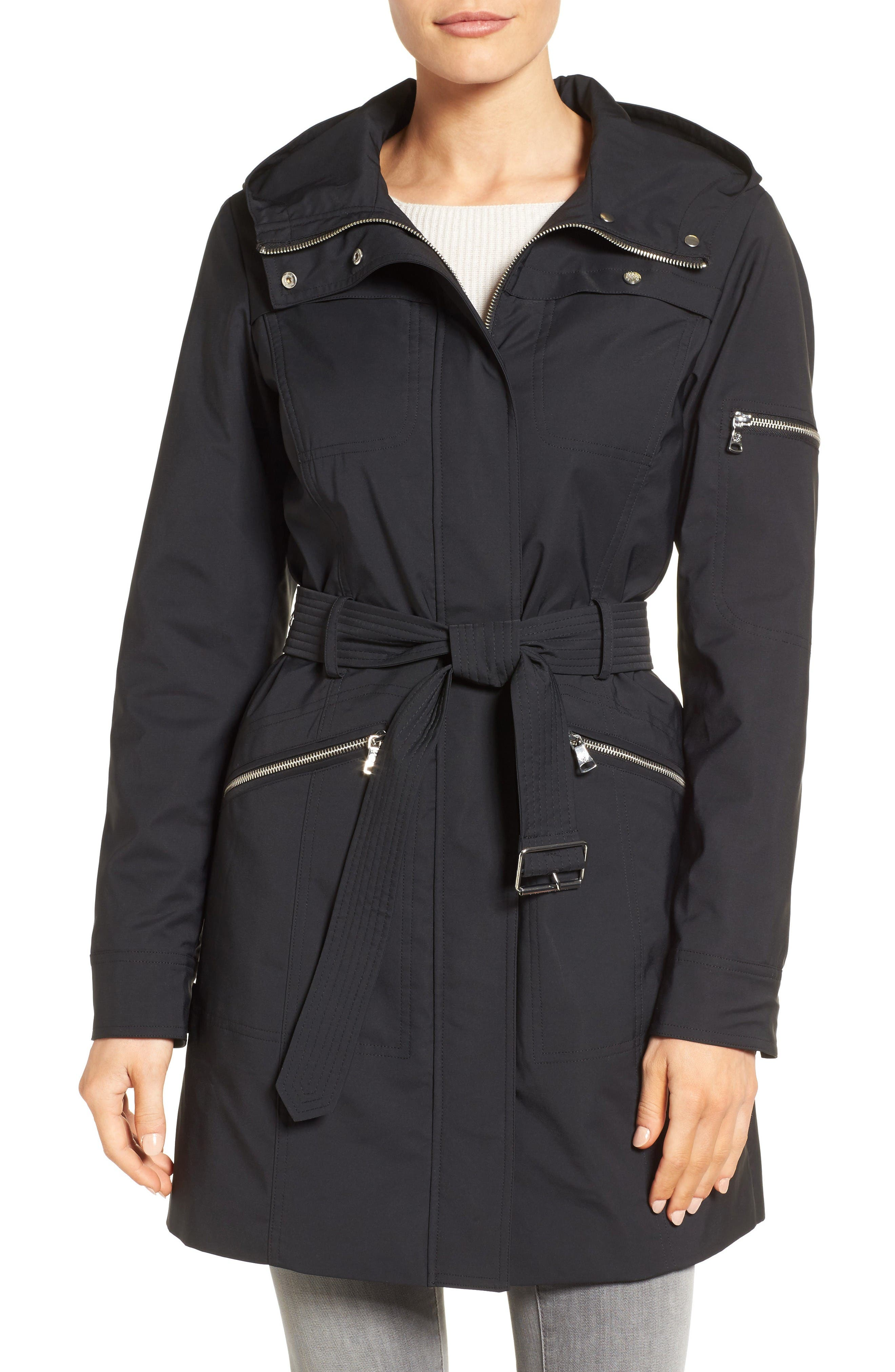 Vince Camuto Hooded Belted Trench Coat