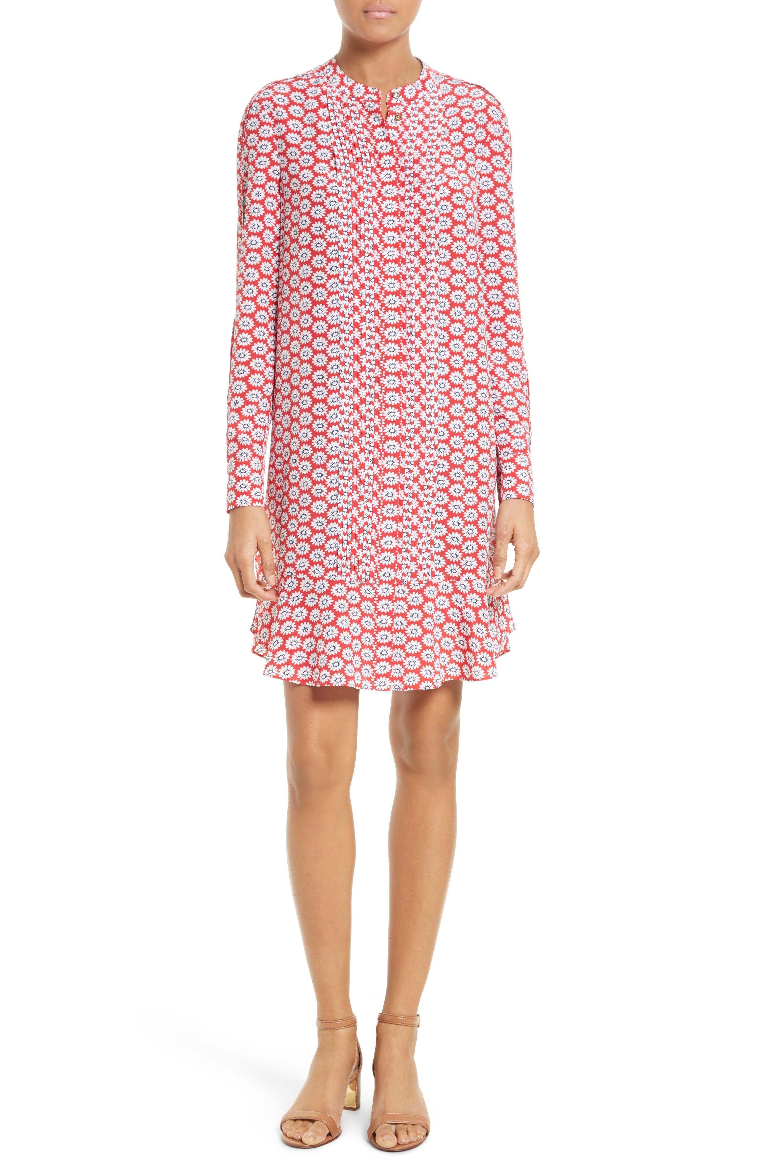 Tory Burch Cora Floral Print Silk Shift Dress