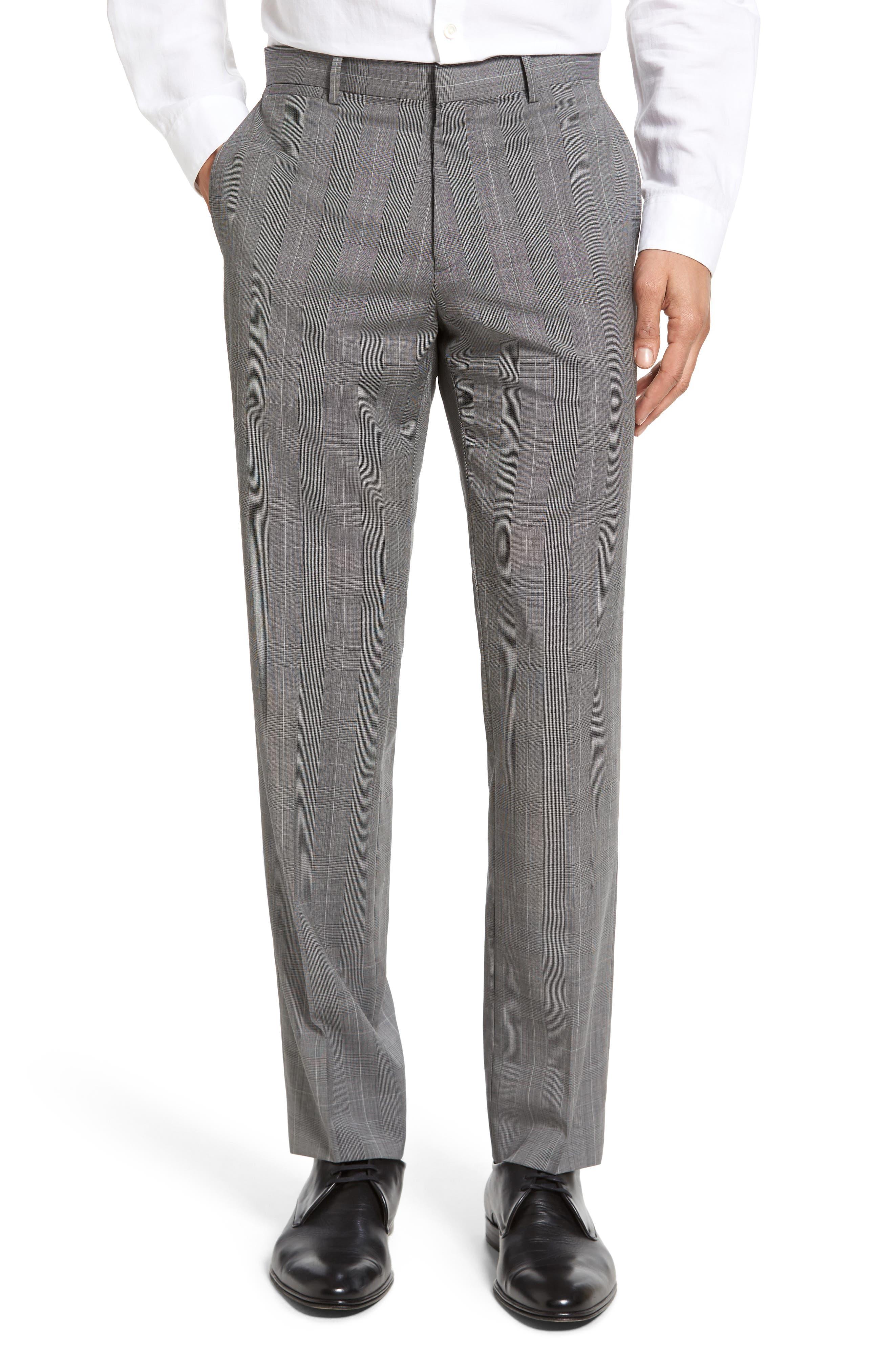 Theory Marlo Kinver Flat Front Windowpane Wool Trousers