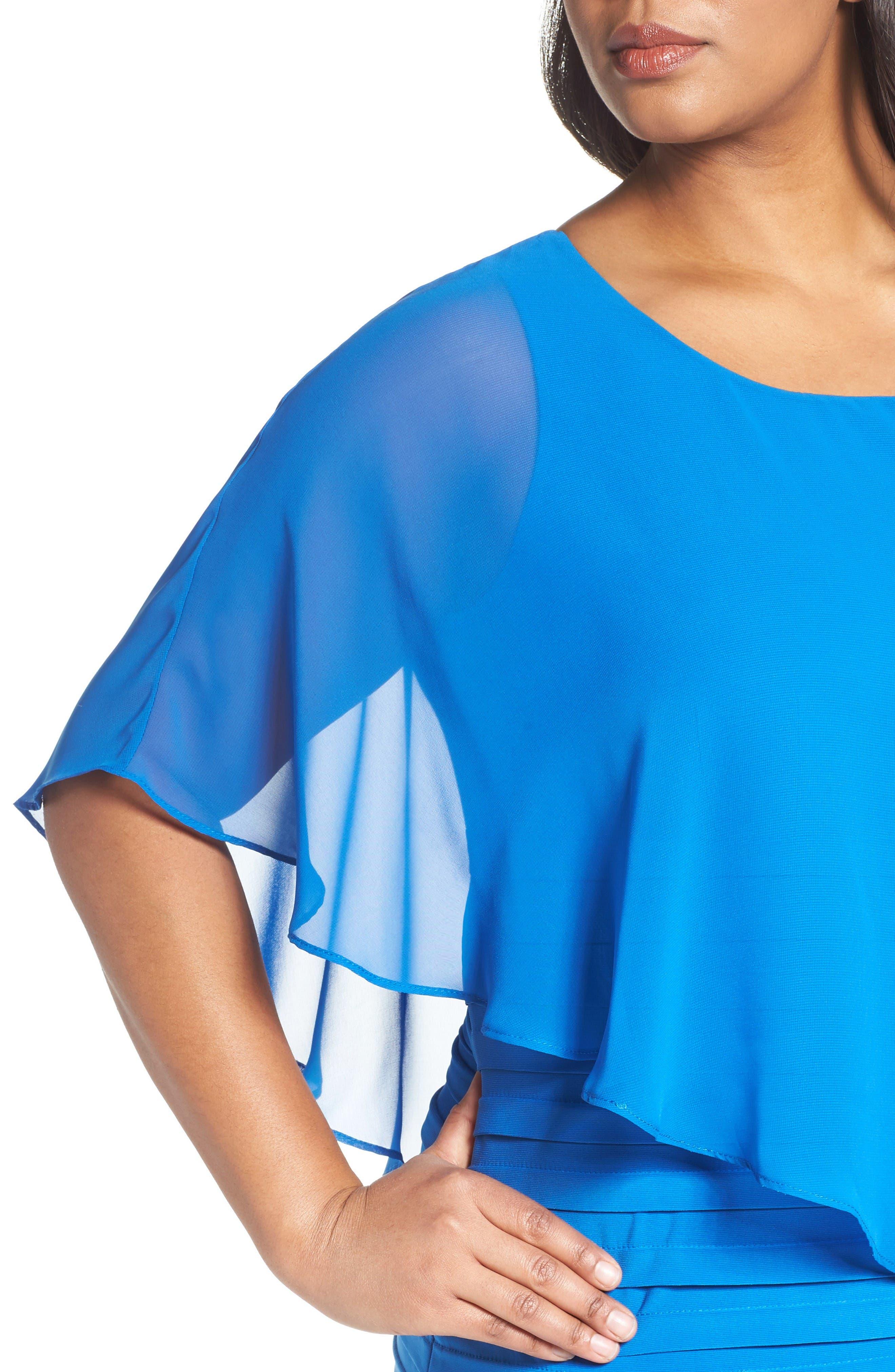 Alternate Image 4  - Adrianna Papell Chiffon Overlay Shutter Pleat Sheath Dress (Plus Size)