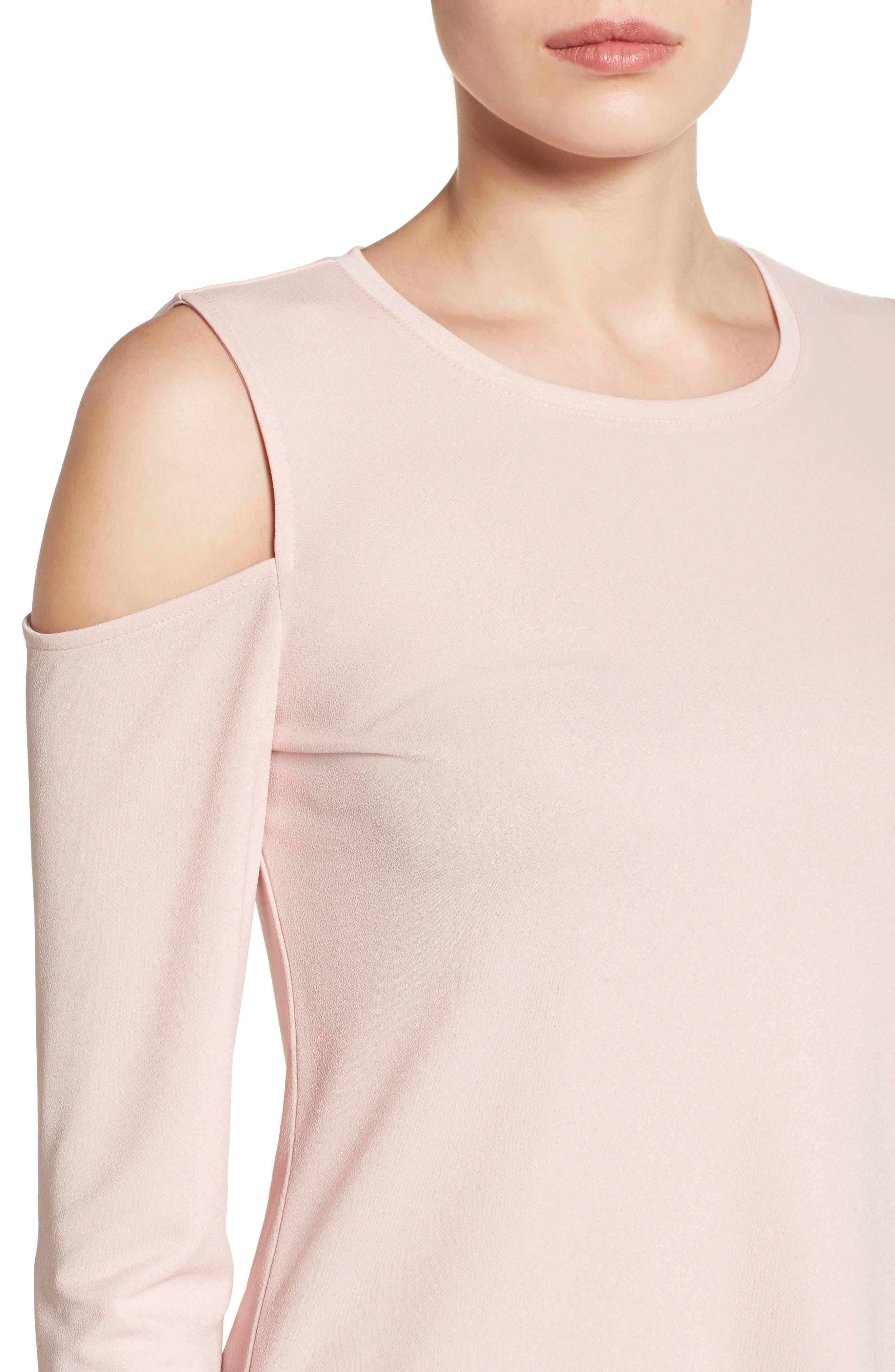Alternate Image 5  - Halogen® Stretch Knit Cold Shoulder Top (Regular & Petite)
