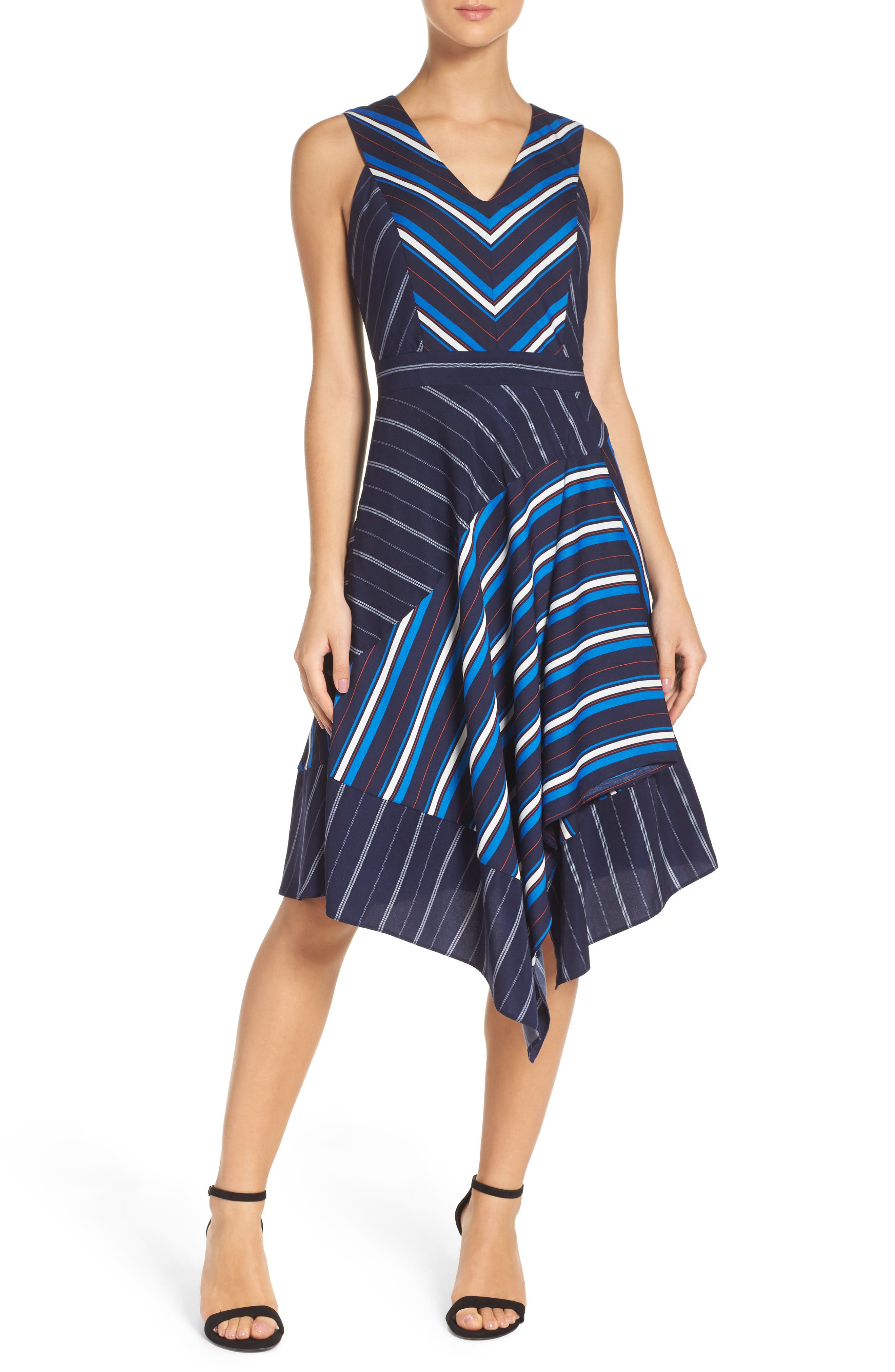 Main Image - Adelyn Rae Stripe Fit & Flare Dress