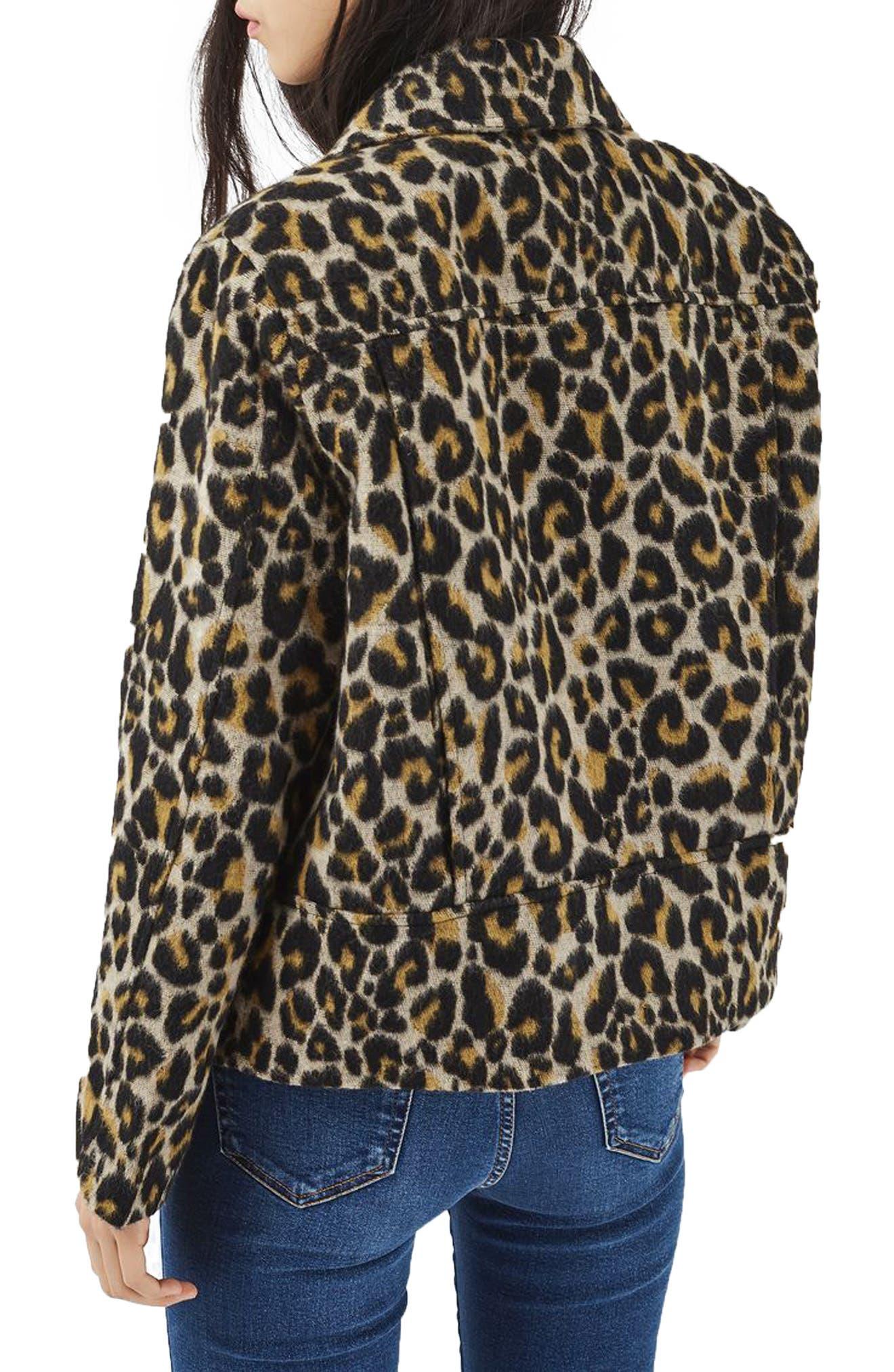 Alternate Image 3  - Topshop Leopard Print Biker Jacket