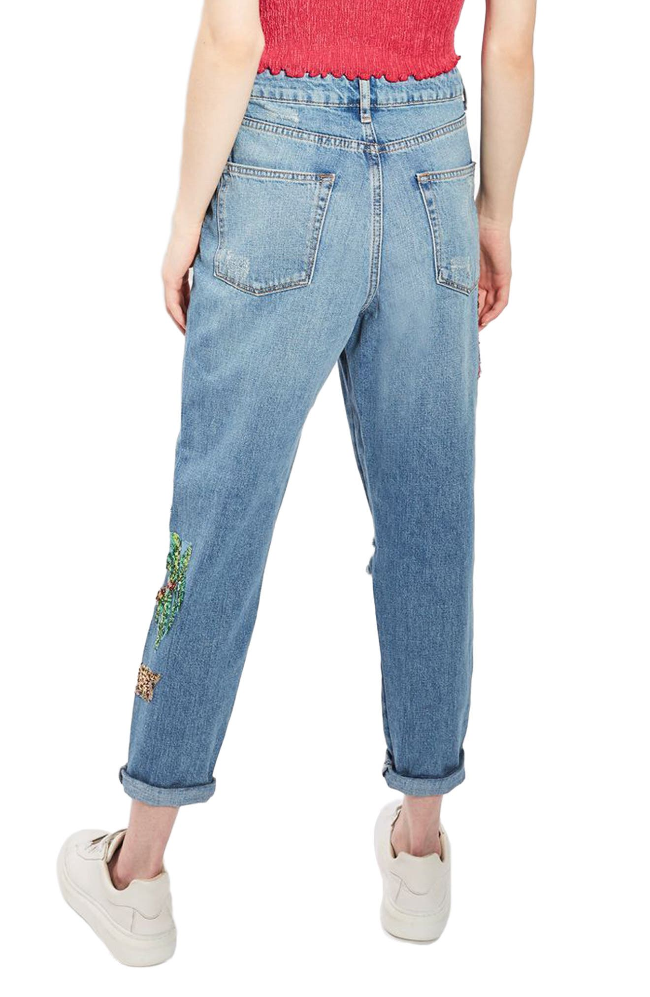 Alternate Image 2  - Topshop Distressed Sequin Mom Jeans