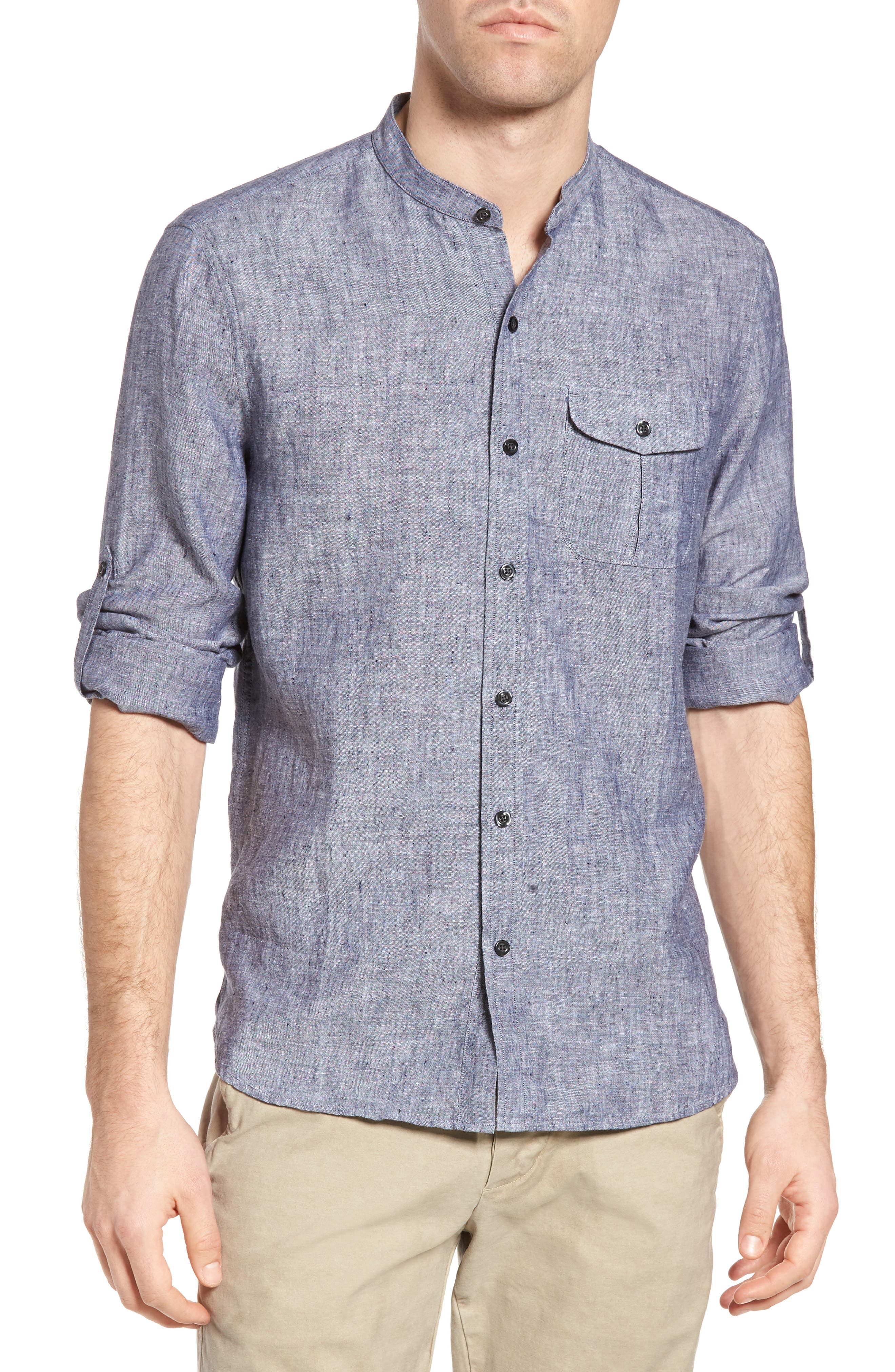 Michael Bastian Band Collar Linen Sport Shirt